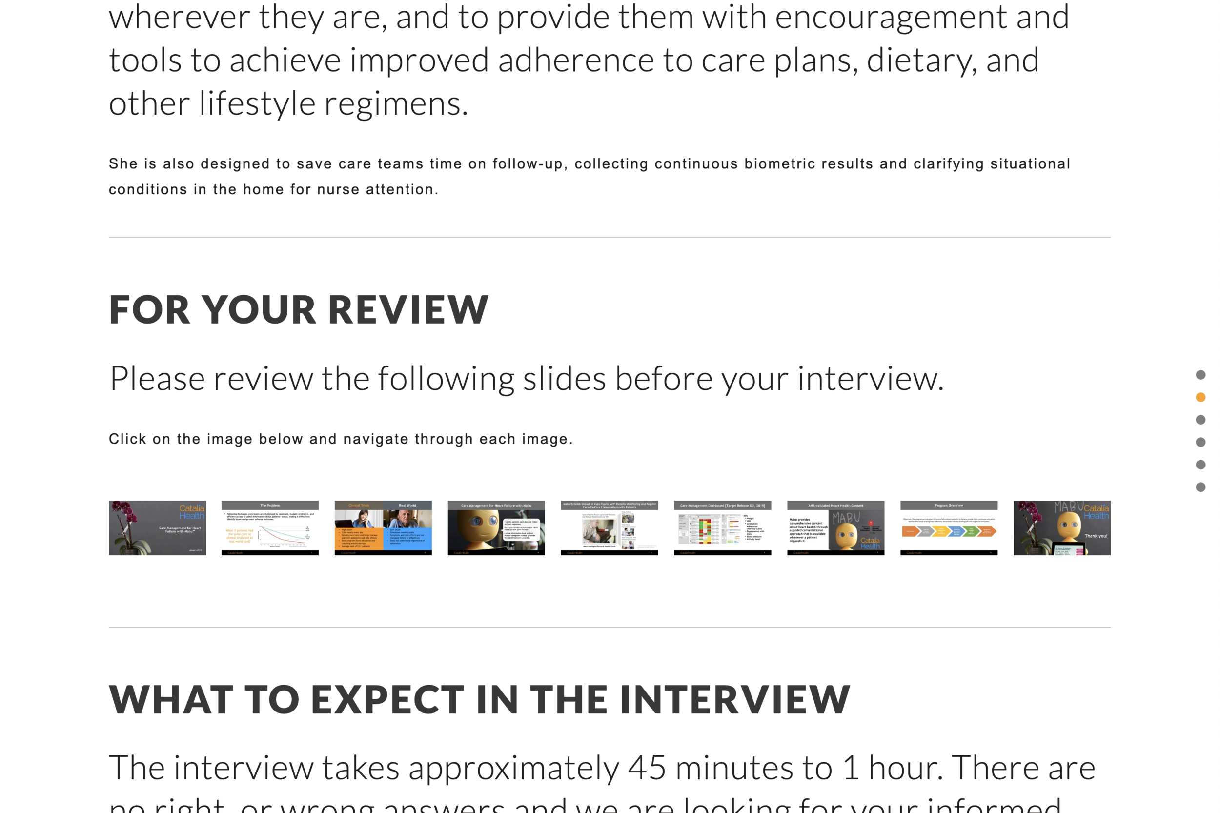 Pre-Interview Example 2 Landing Page