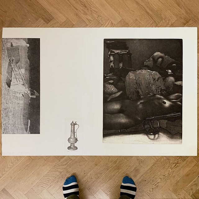 "I found this one during cleaning of my studio yesterday. It was done 2013 for my ""Work and Days"" show in @aptekasztuki and is a collage that consists of earlier works from the ""Battlefield Landscape"" and ""La Citta delle Donne"". Litho with etching and found magazine image, 80 x 120 cm.  #printmaking #grafika #graphicart #etching #aquatint #intaglio #lithography #archeology #lostandfound #travel #antique #bleriot #airplane #agrigento #sicily #italia #collage #exhibition #museum #gallery #polishprintmaking #contemporaryart"