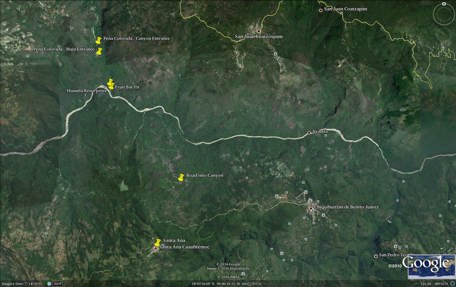 A map of the area around the Huautla resurgence, showing multiple entrances of the Huautla resurgence and the Pena Colorada. Santa Ana Cuauhtemoc was used as base camp for the '16 expedition.