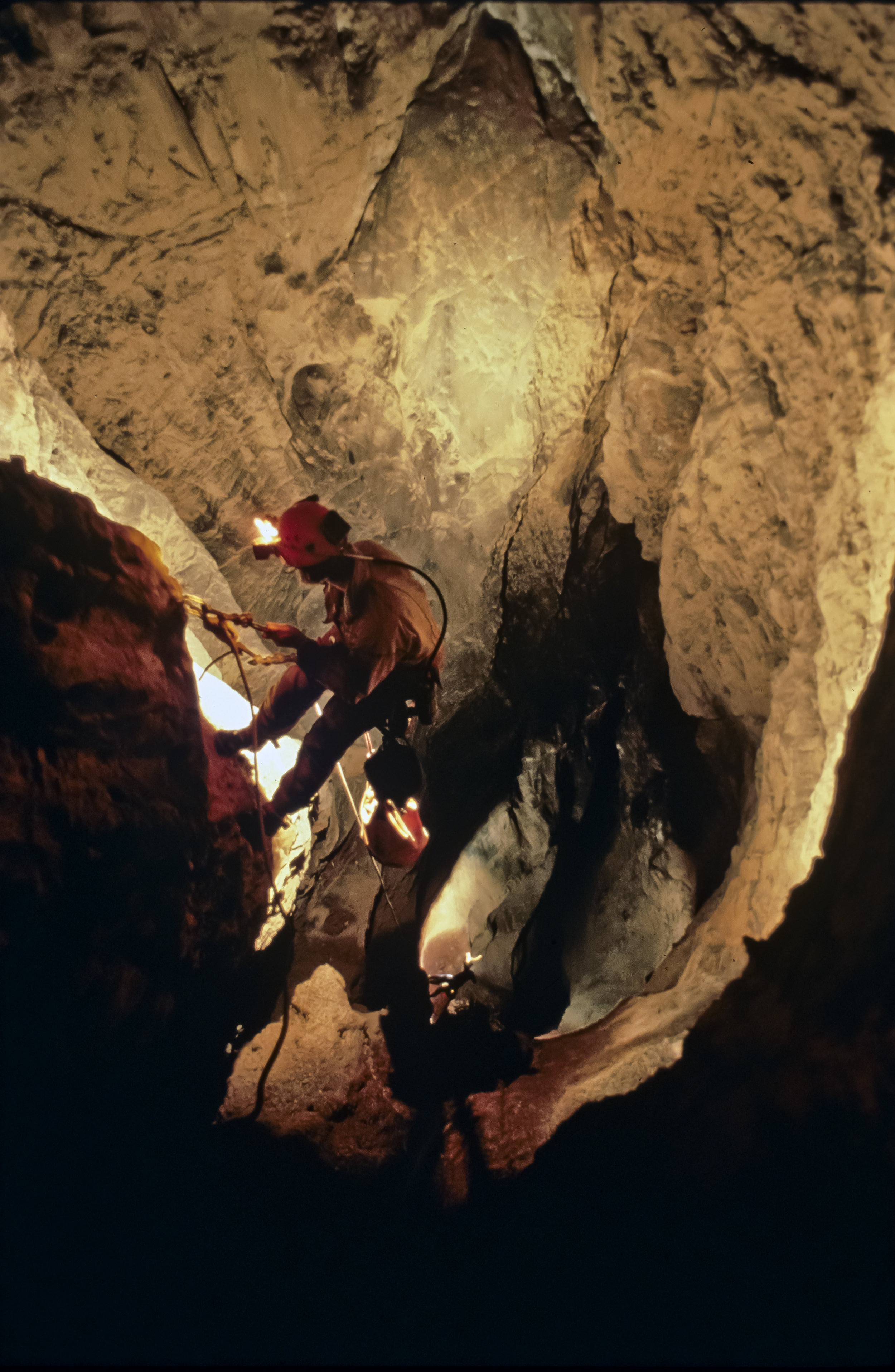 Barbara am Ende (top) and Bill Stone descend the second and third segments of the 100m Shaft. Photo by U. S. Deep Caving Team/Wes Skiles.