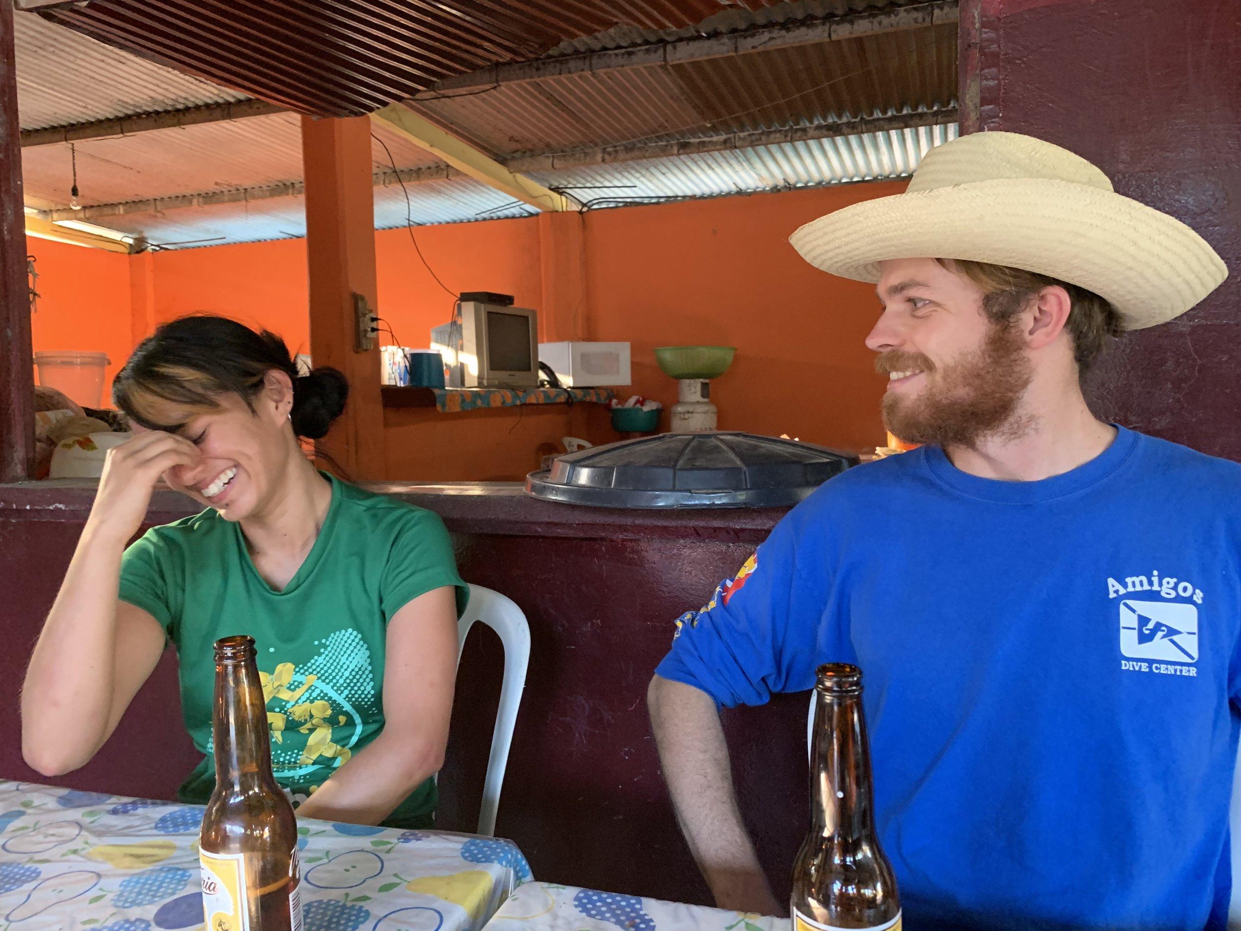 Alejandra Mendoza enjoying Steve Lambert's entertainment. Photo by Teddy Garlock.
