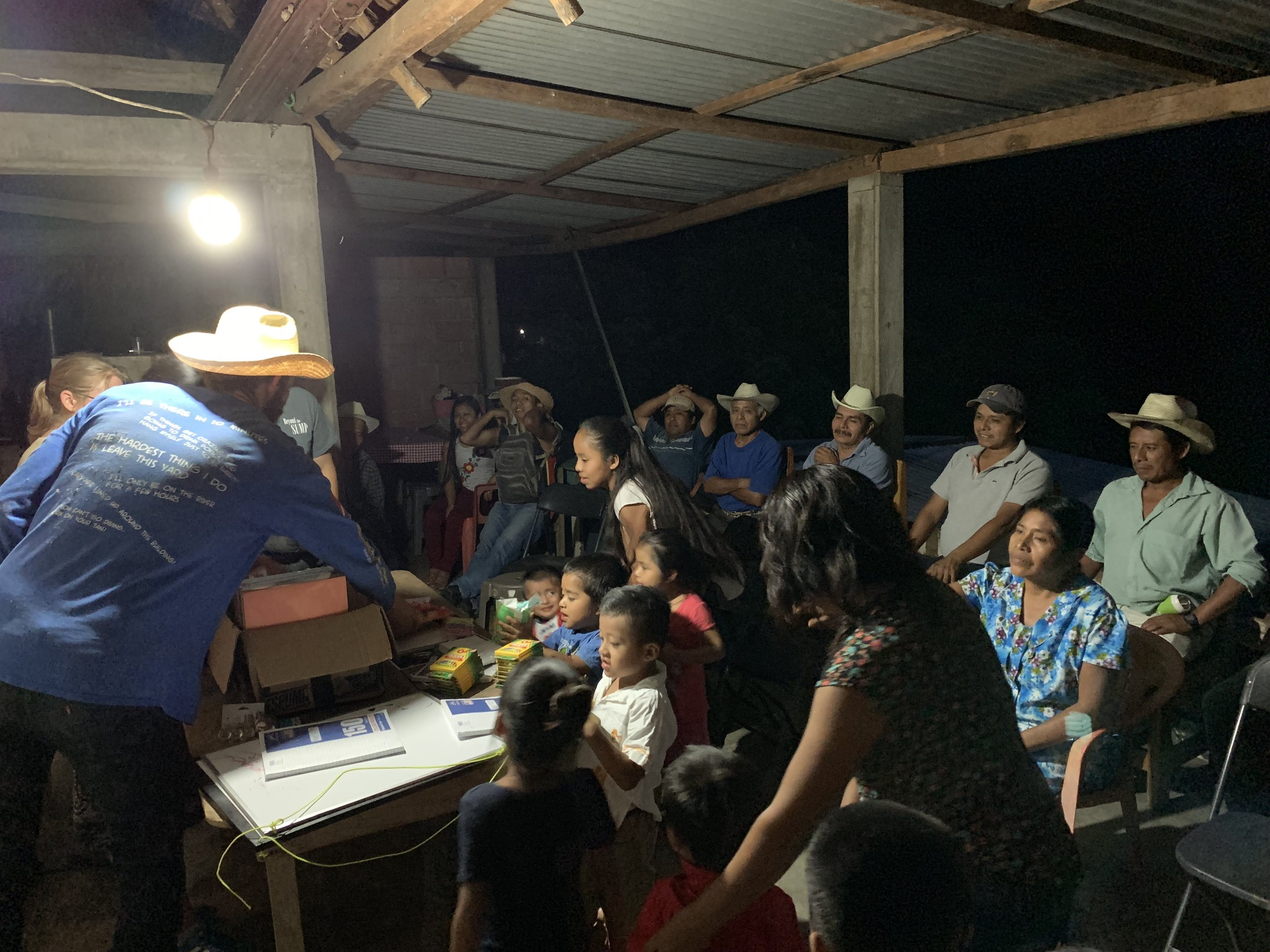 A presentation of our expedition to the locals of San Bartolomé Ayautla. Photo by Teddy Garlock.