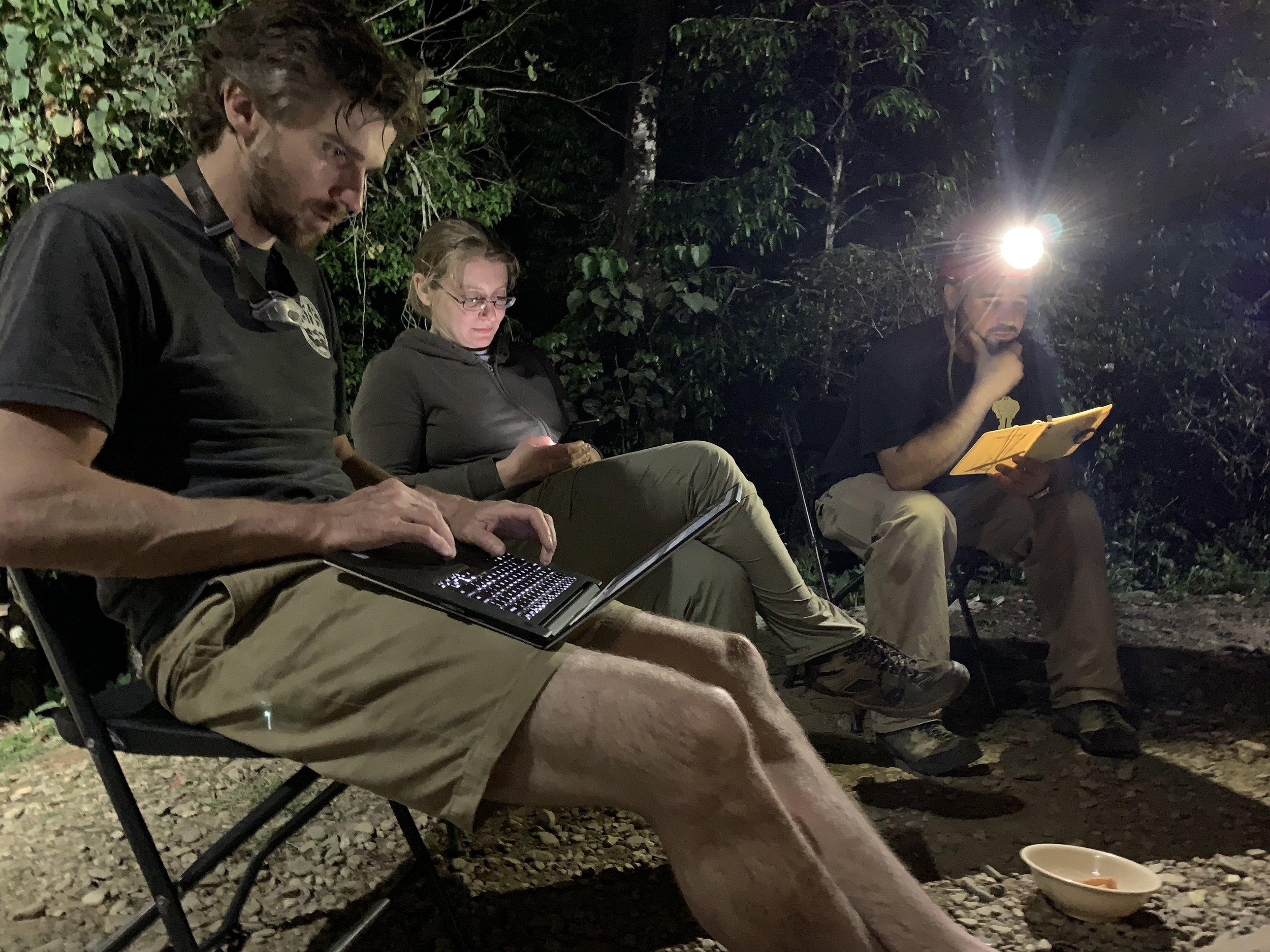 Jon Lillestolen, Gilly Elor, and Zeb Lilly entering survey data. Photo by Teddy Garlock.