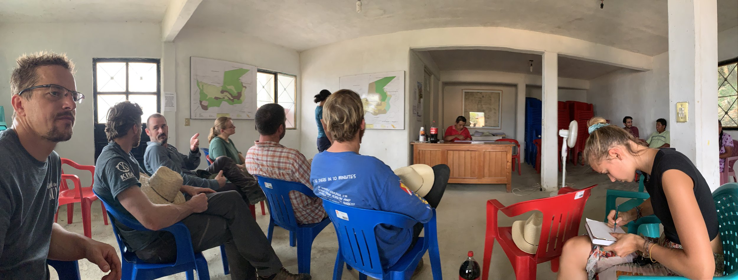 The team at a meeting in San Bartolomé Ayautla. Photo by Teddy Garlock.
