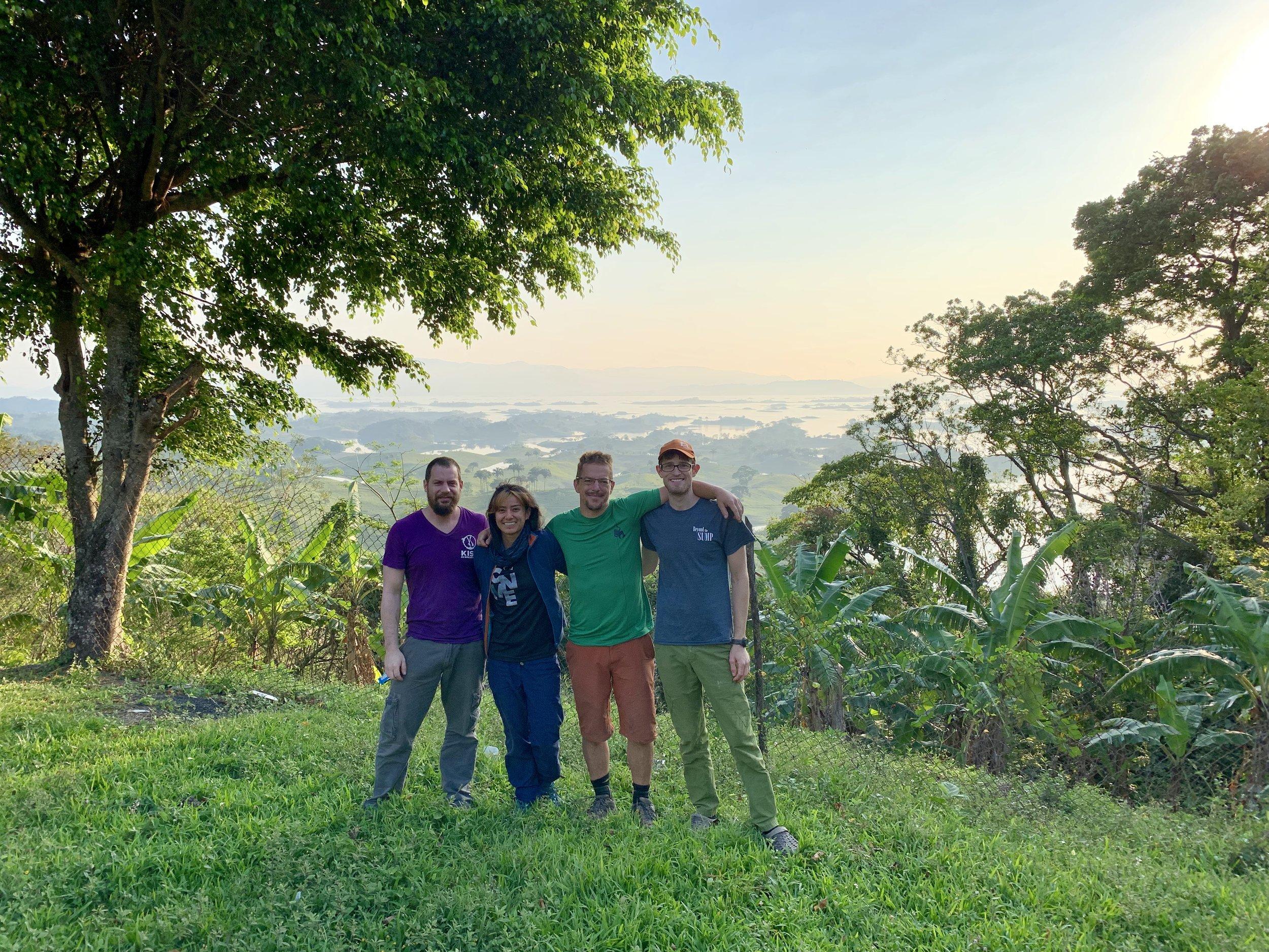 Joe Heinrichs, Alejandra mendoza, Andreas Klocker, And Teddy Garlock above lake Miguel Alemán.