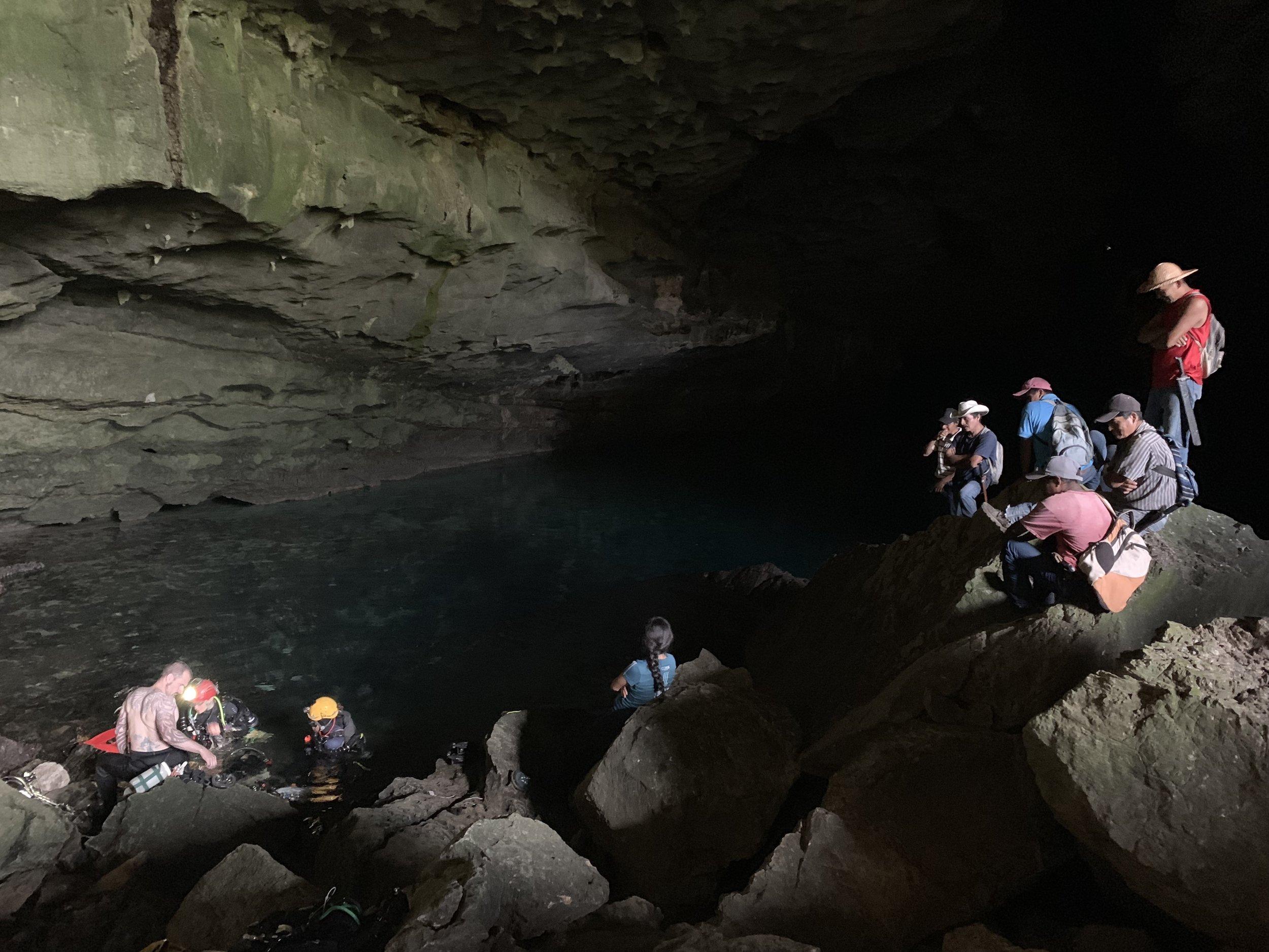 Locals of San Bartolomé Ayautla visiting the team at the cave.