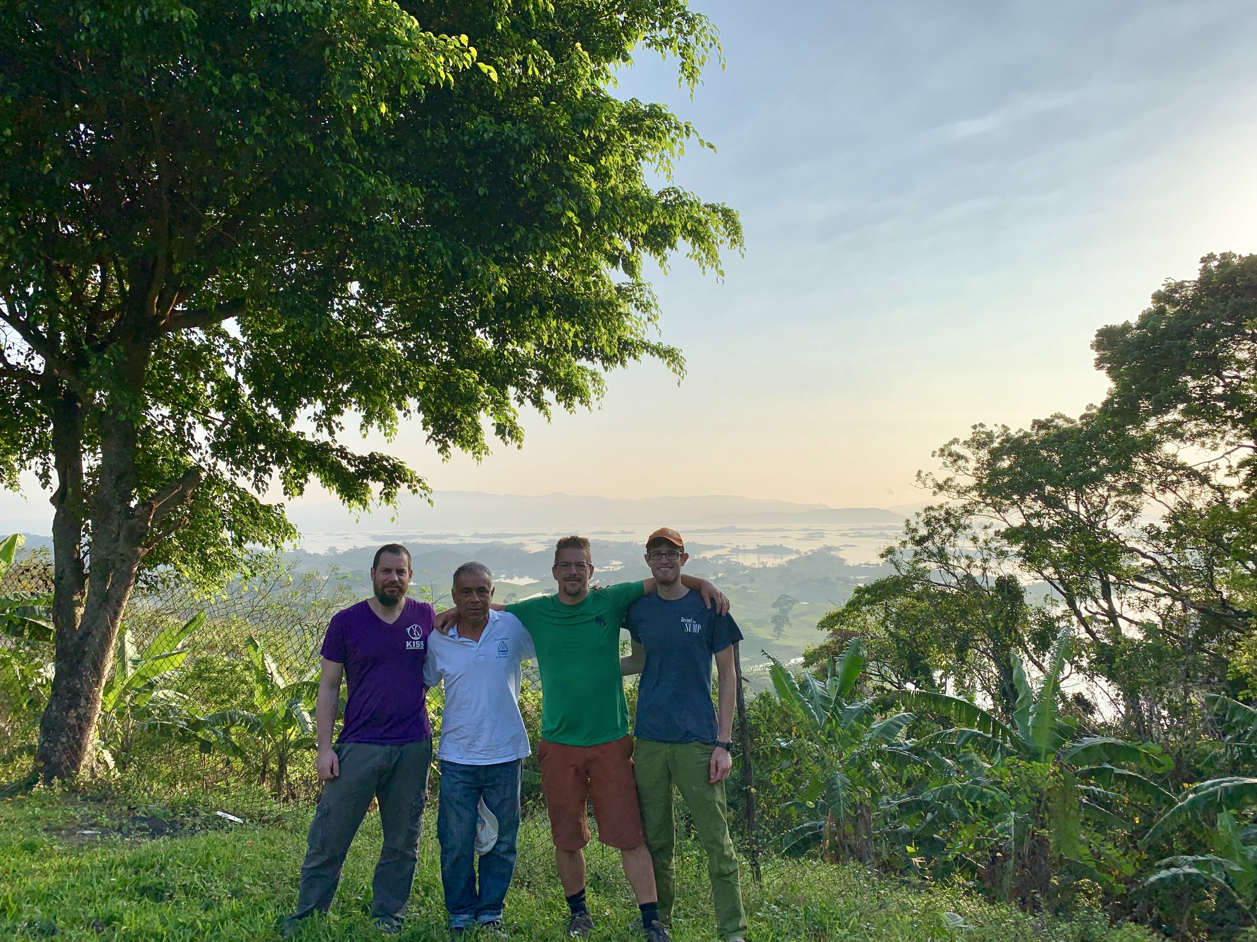 Joe Heinrichs, the local tourism guy, Andreas Klocker, and Teddy Garlock at lake Miguel Alemán.