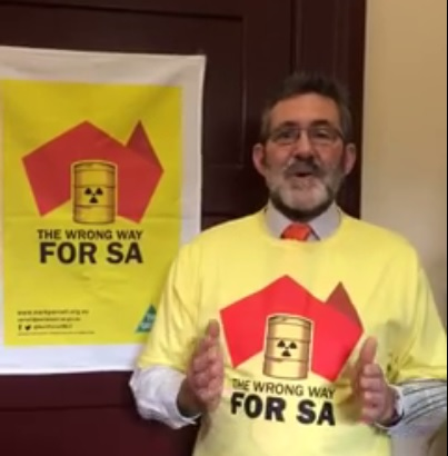 Not a joke. In announcing that he was joining a 'fact-finding delegation', Greens politician Mark Parnell donned this t-shirt and displayed this tea-towel.