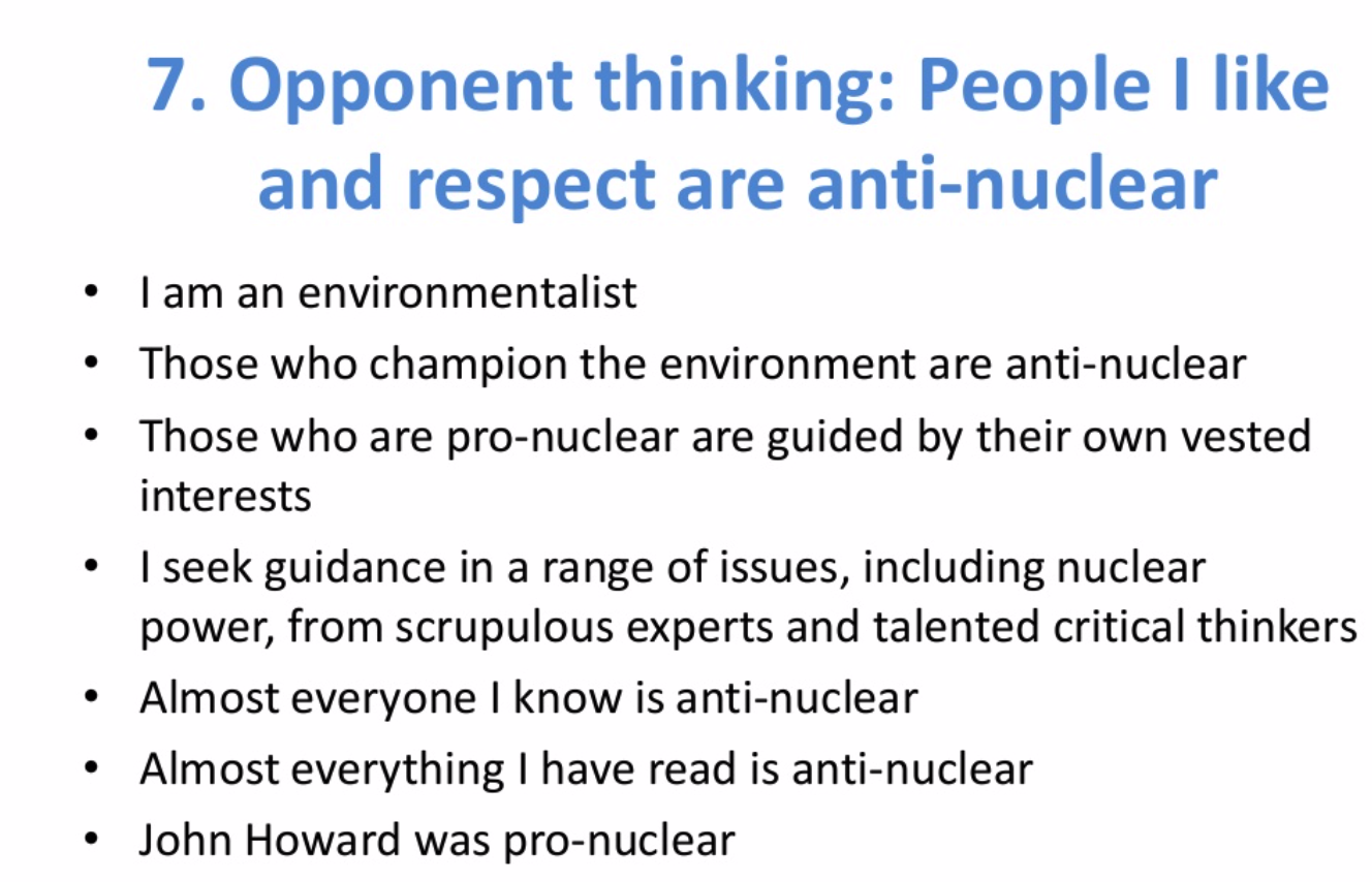 At reason number 7, I called out my own susceptibility to    tribal bias.    I literally did not want to be aligned with supporting nuclear power because of my dislike for one of its supporters.