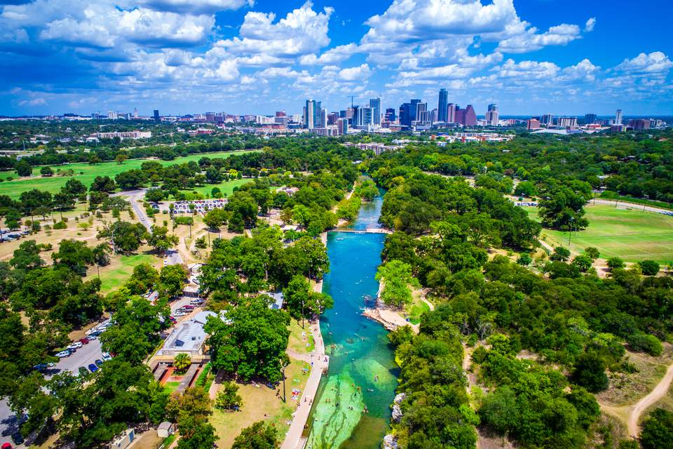 Austin's Zilker Park and downtown