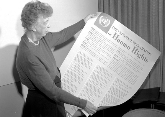 Eleanor Roosevelt and the Universal Declaration of Human Rights (1949) (courtesy Wikimedia)