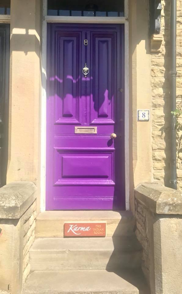 Try the purple door with our sign on the step! - Welcome to Karma- the Indian Room!