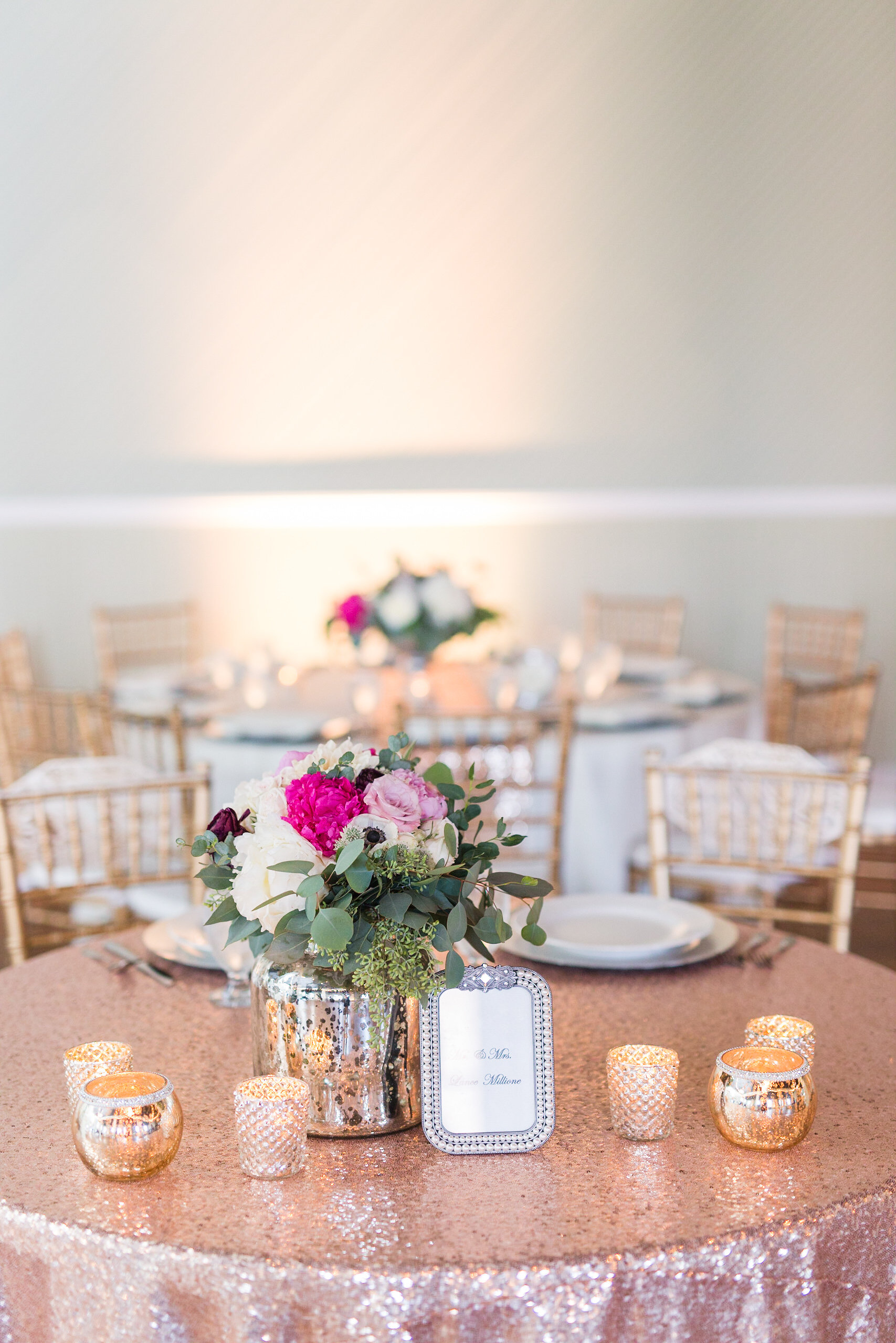 Love Is In The Air Design: Our sequin gold table linens paired with small gold votives