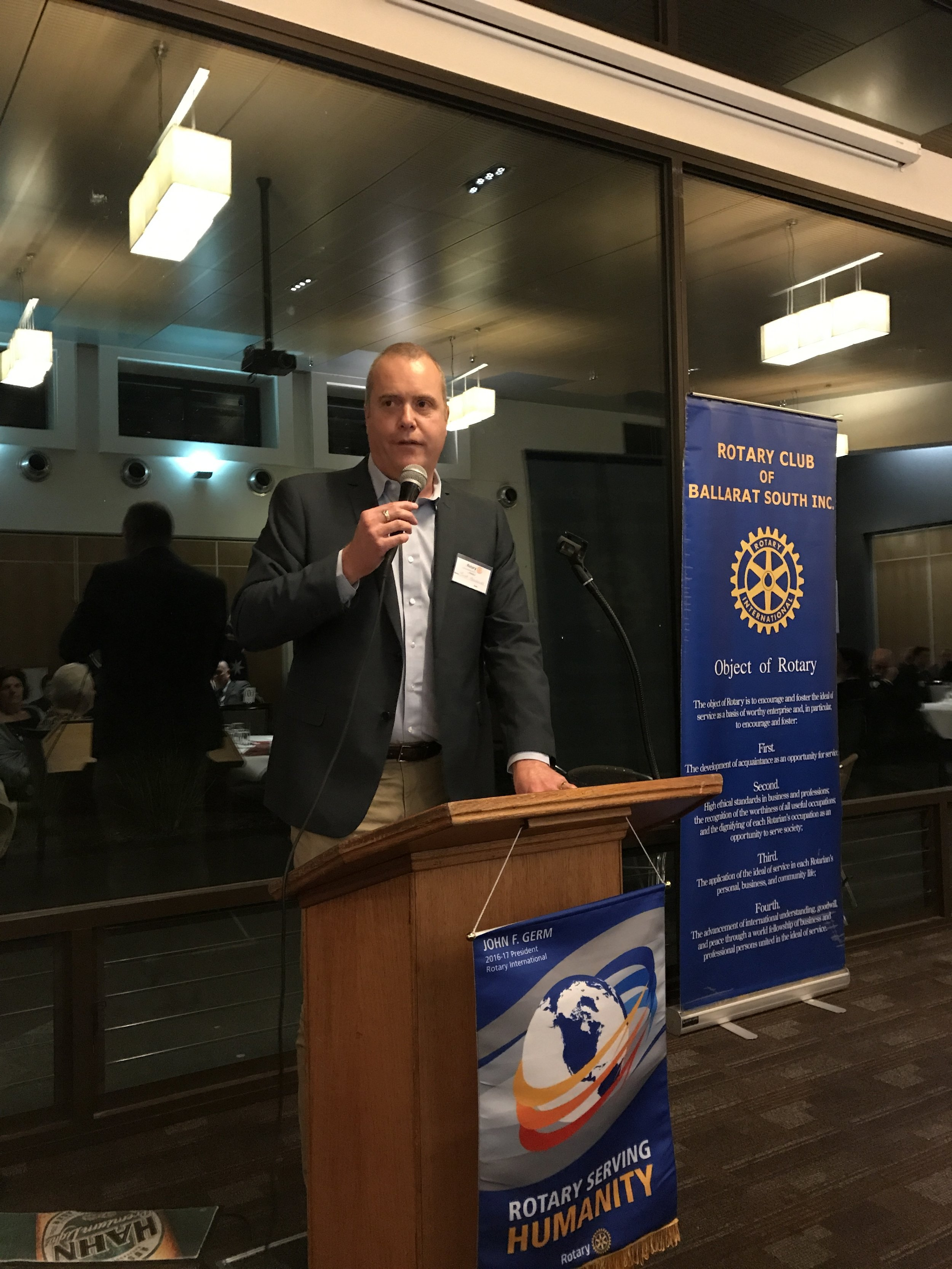Brett Macdonald announcing the Denis Bateman Award