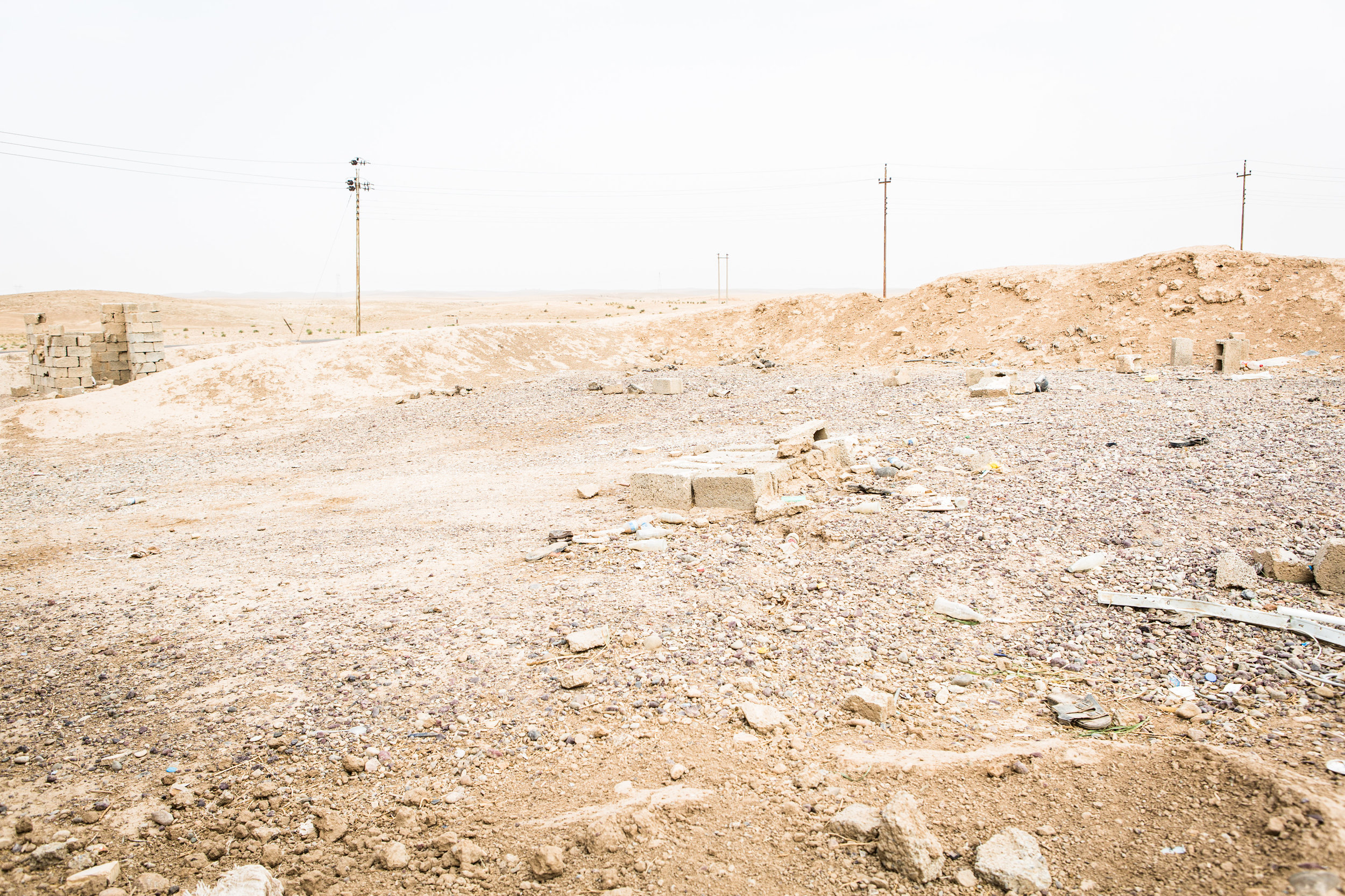 An old burm is all left of a Saddam era check-point outside the city of Dibis, Iraq.