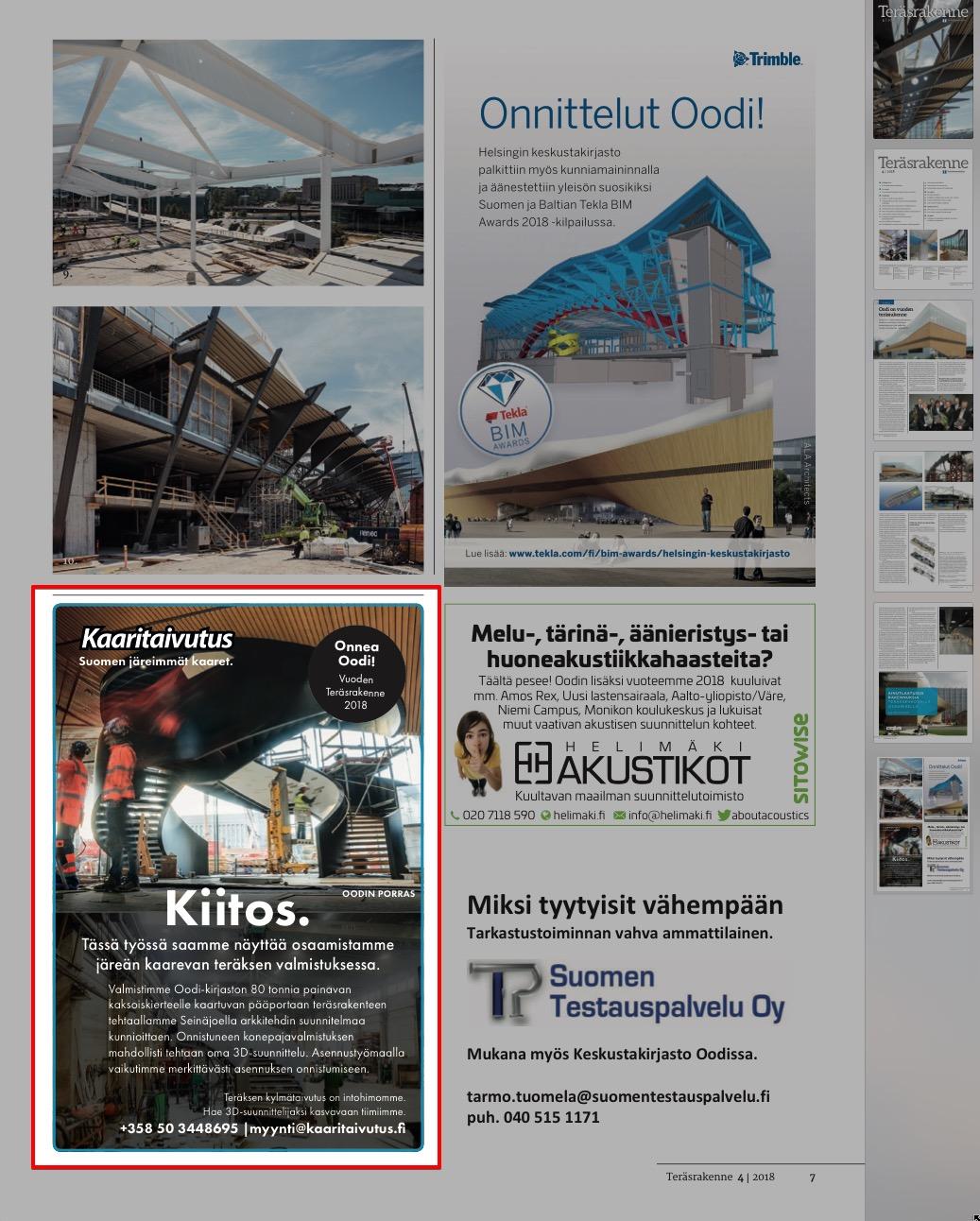 Lehti-ilmoituksemme Oodi-kirjastosta, Teräsrakenne-lehti nro 4/2018.