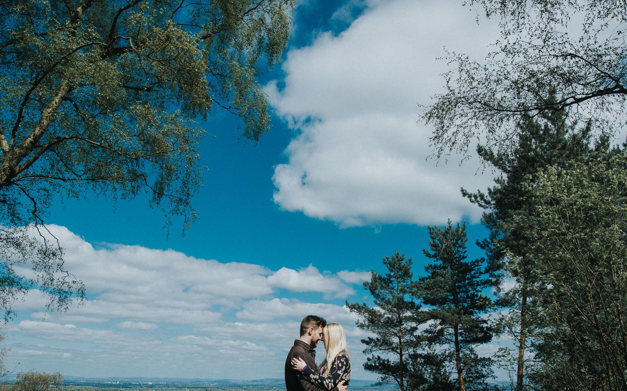 cheshire wedding photographer documents quirky engagement photo for boho chic wedding