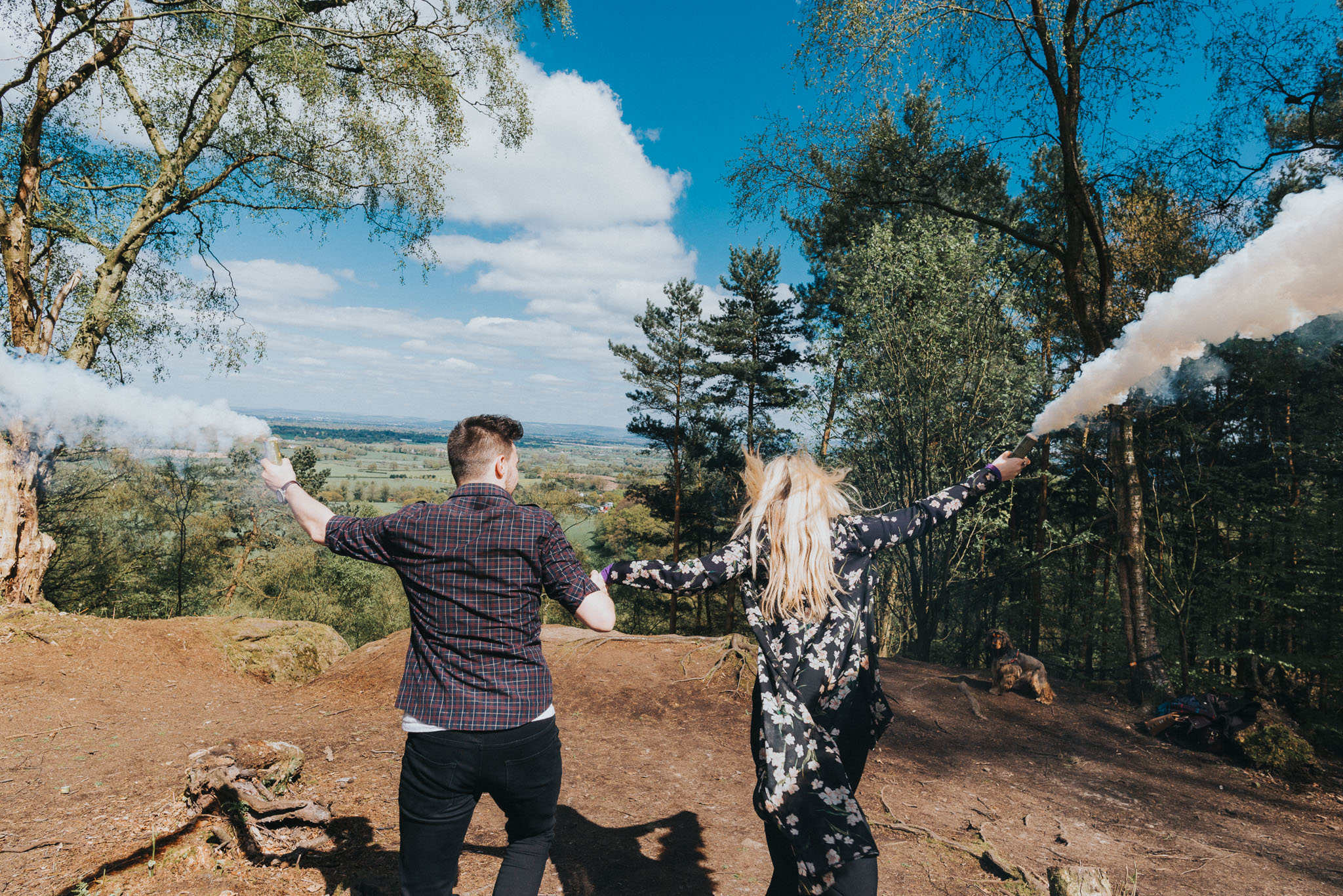 smoke bomb fun in cheshire for alternative wedding photography