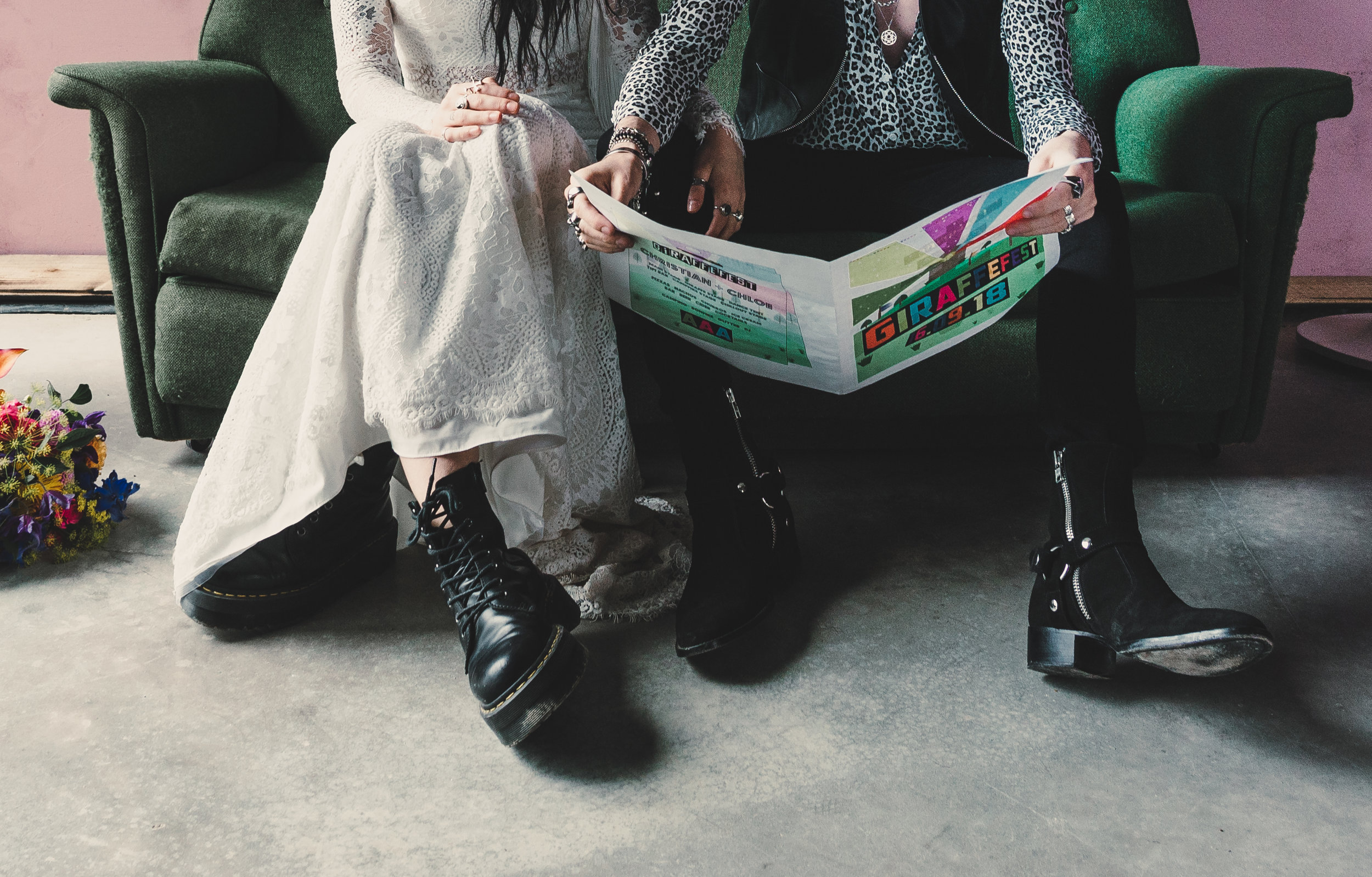 wedding style with dr martens and wedding dress in the giraffe shed wales