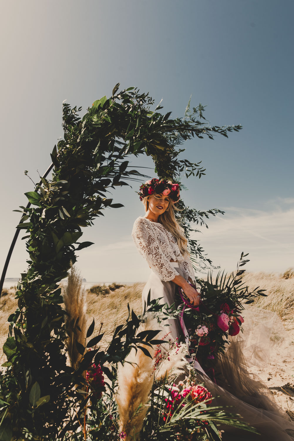 boho beach bride in south wales on her boho wedding day