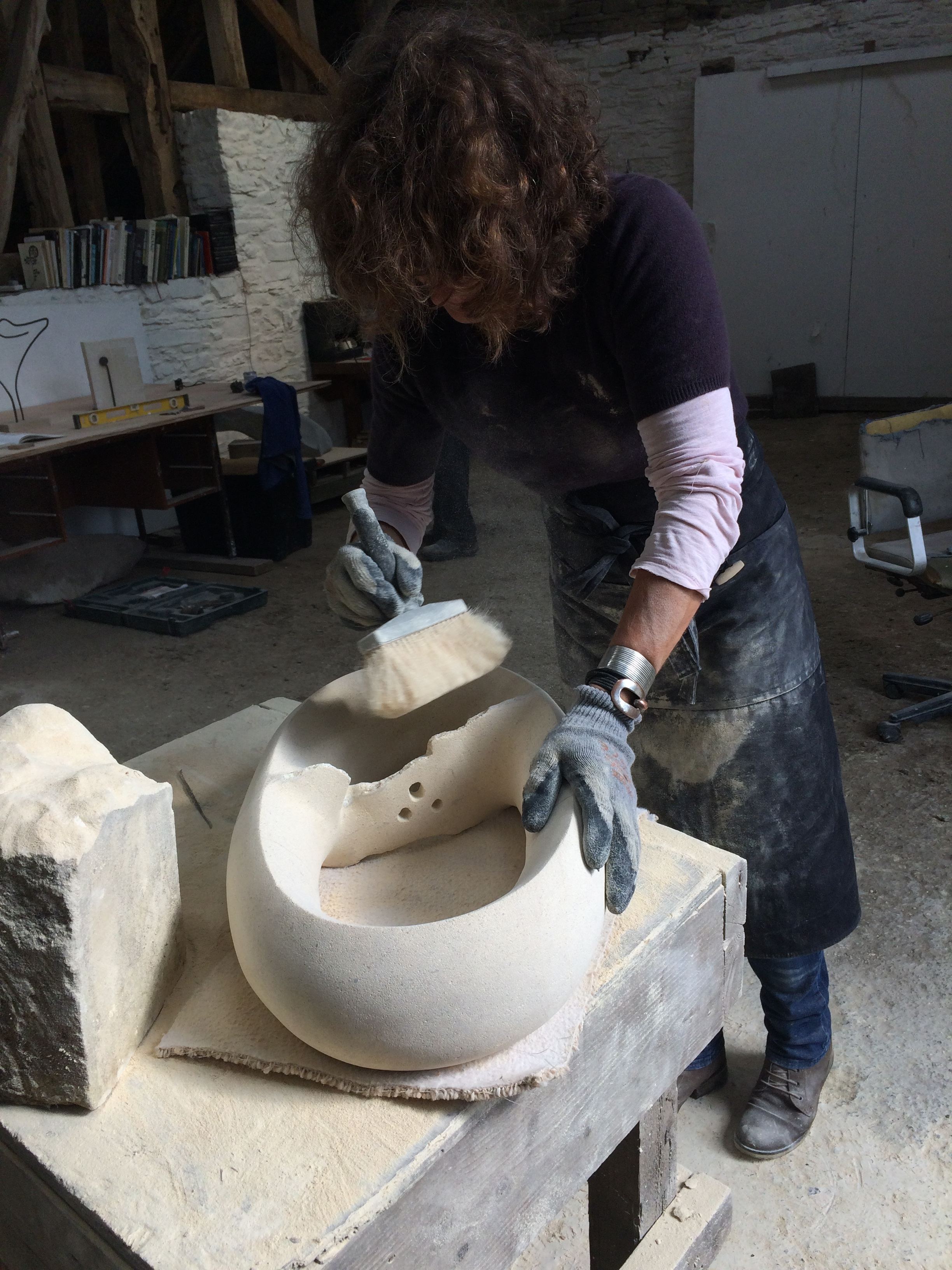 stone carving and metal sculpture
