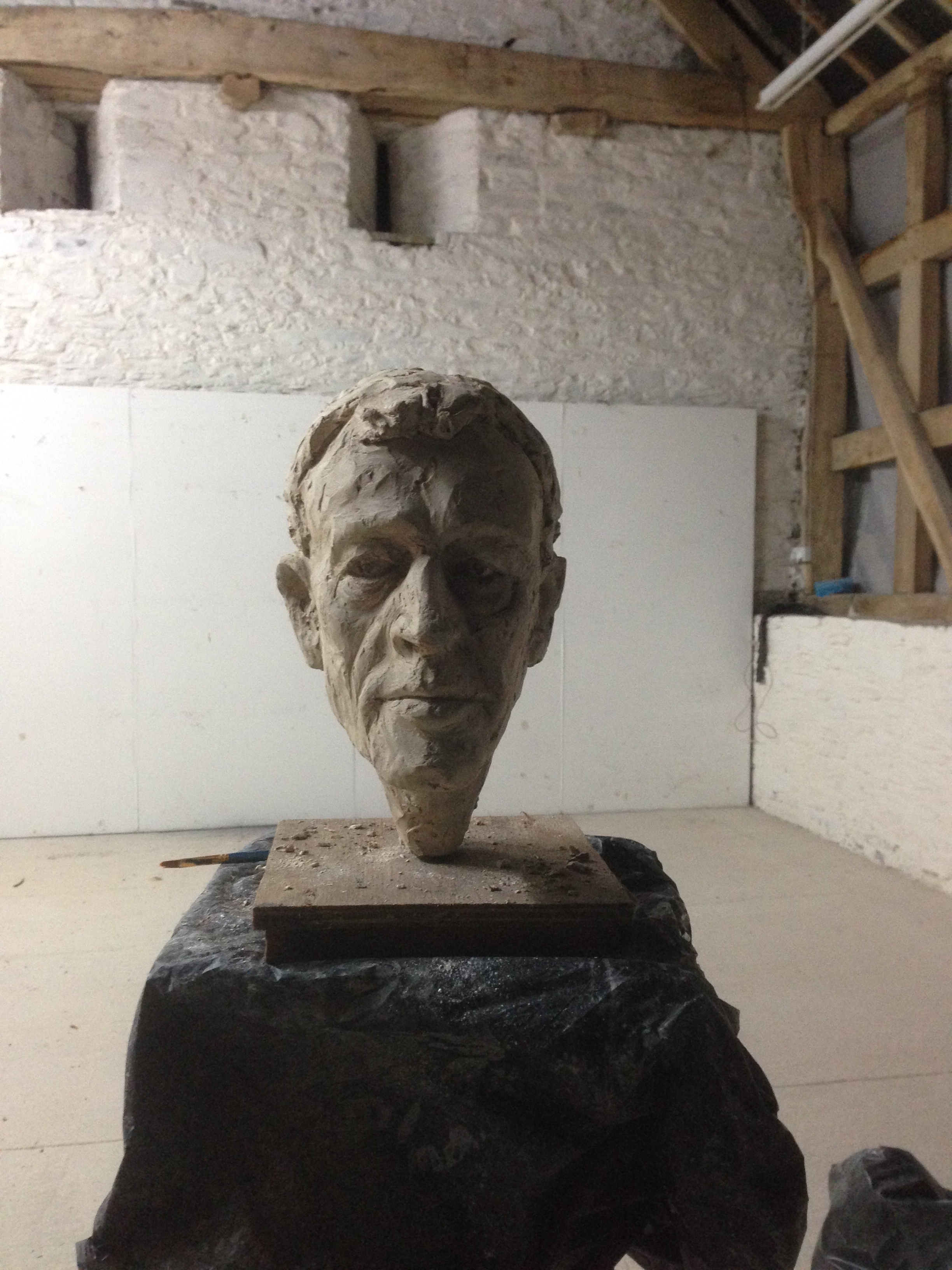 sculpting the head in plaster