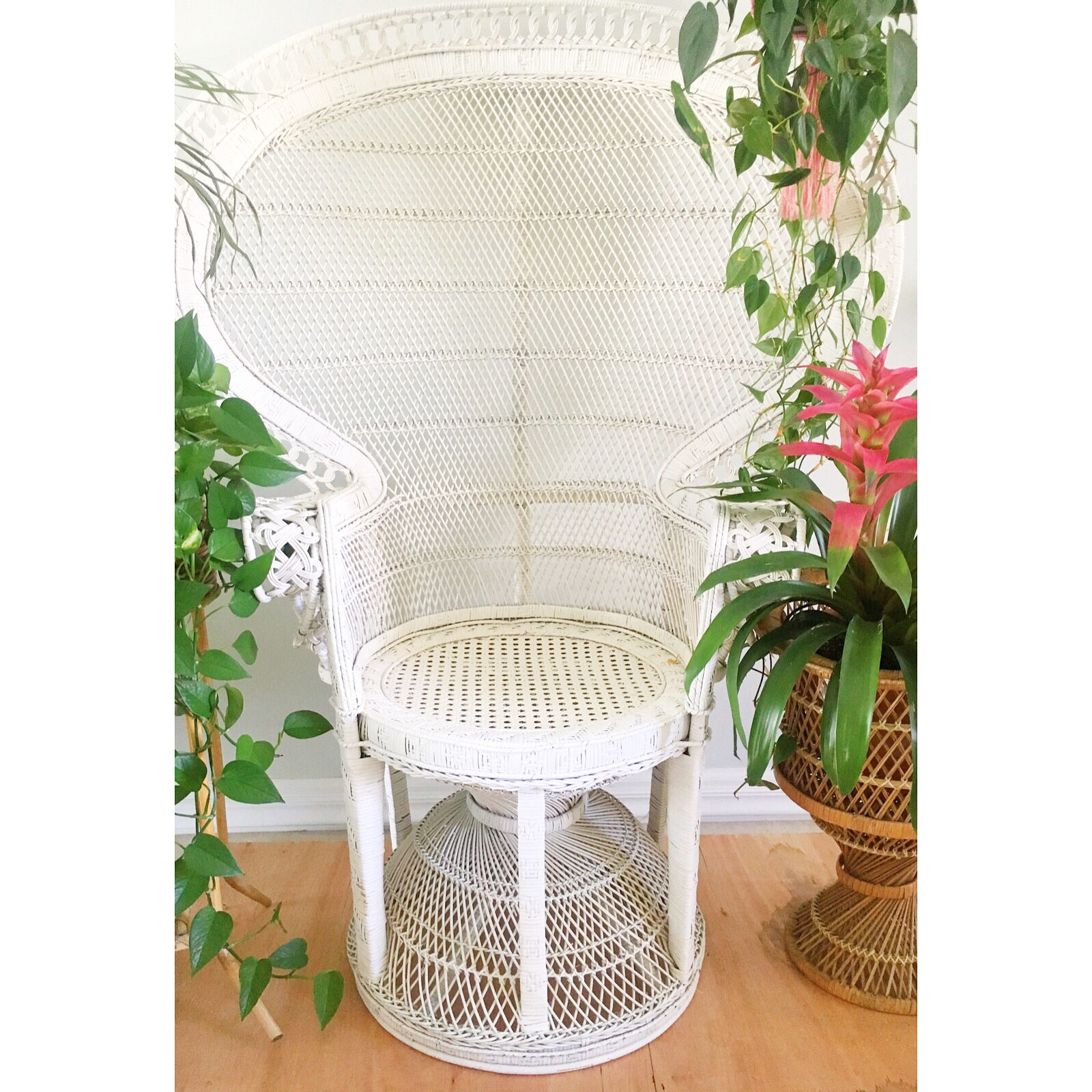 Large White Peacock Chair