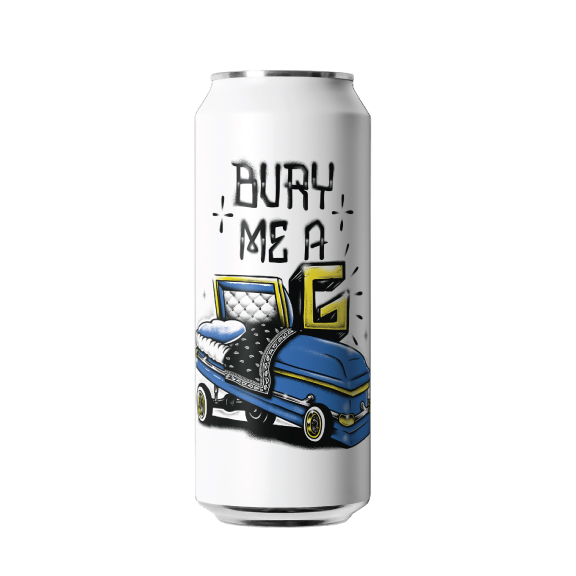 BURY ME A G - -DOUBLE IPAAll eyes on Simcoe, Amarillo, and Citra hops to bring out the crisp taste of Bury Me a G Double IPA. This 8% beer of freshness has noticeable citrus notes on the aroma followed by a refreshing and resinous finish. Amazingly smooth and crushable. Behind every sip there's a story, and a moment to enjoy with those that drink good beer.
