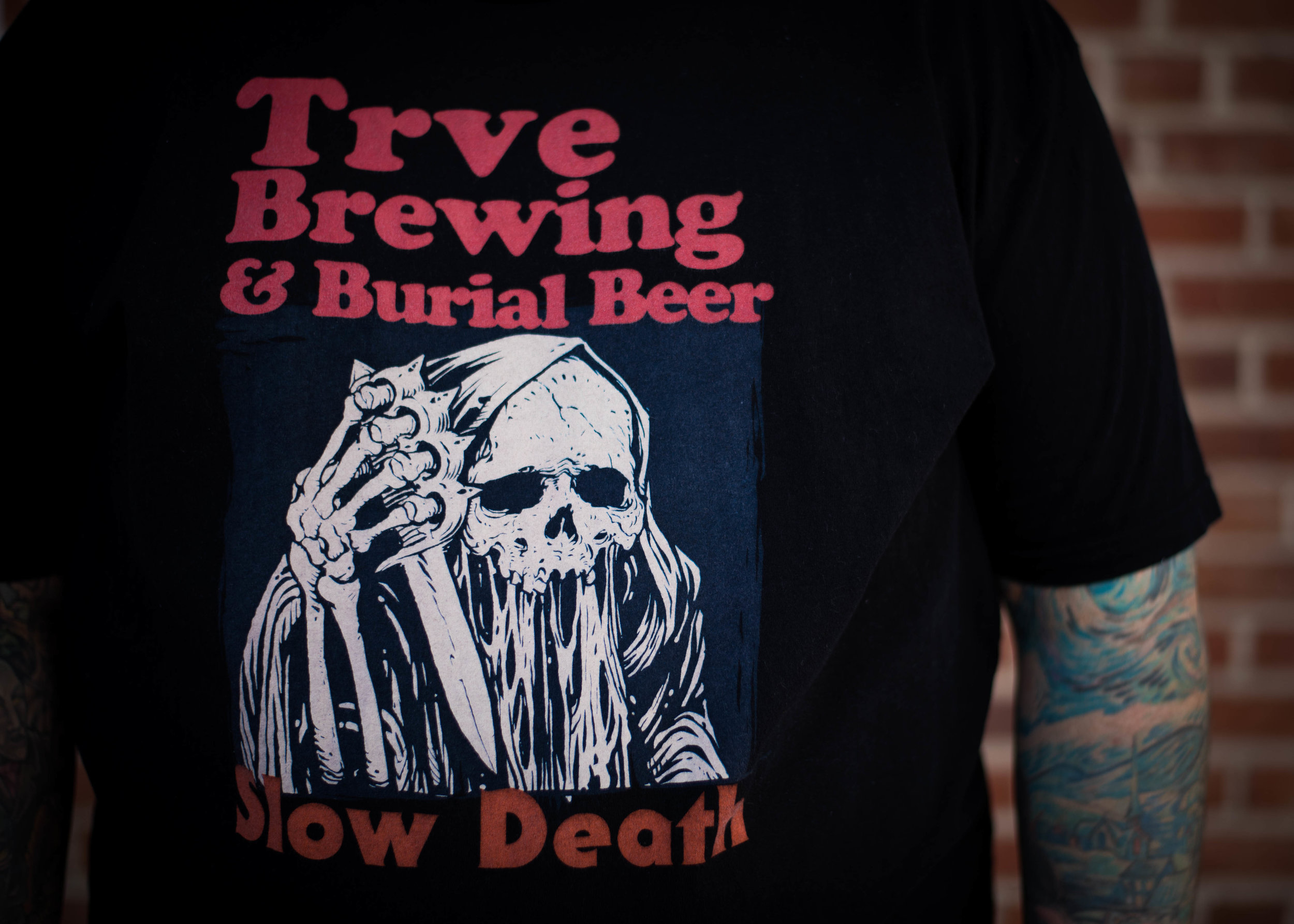 Trve Brewing & Burial Beer. Print Method SOFT. Screen printed on a Next Level shirt. Printed by A Small Print Shop.