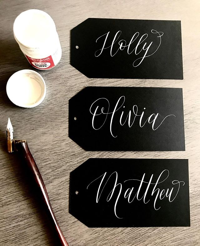 Black on White... Classic 👌 . . . . . . . . #moderncalligraphy #calligraphy #calligraphylover #nametags #placecards #nibandink #moderncalligrapher #etsyshop #goodtype #typography #typegang #script #typematters #calligritype #calligraphyph #weddingplacecards #modernscript #calligrapher #calligrafriends #pointedpen #artoftype #drphmartins #nikog