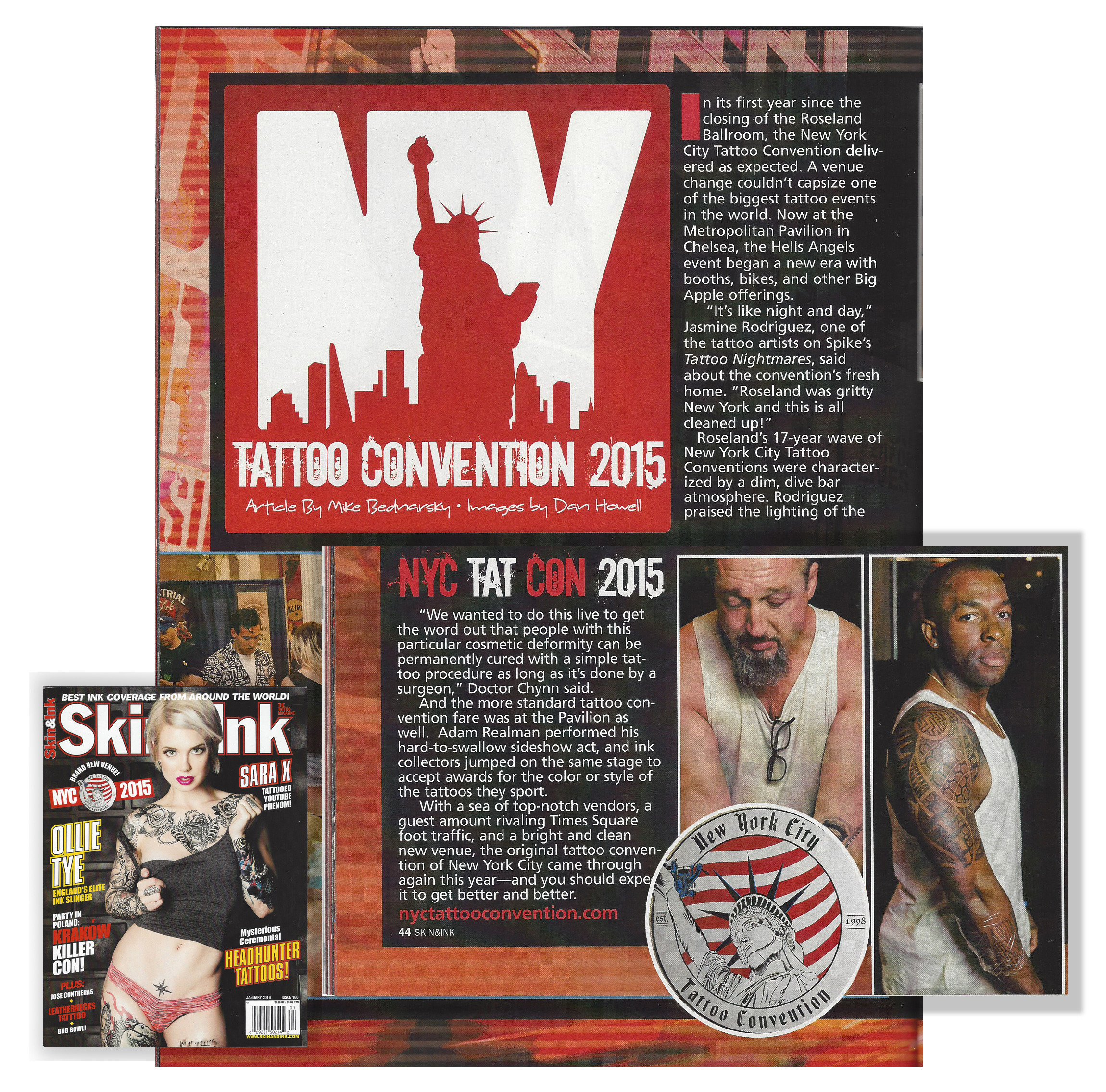 Featured at American Skin & Ink Magazine covering the NYC Tattoo Convention 2015 which João Paulo Rodrigues won the 1st Place Award for Best Overall Tattooed Person