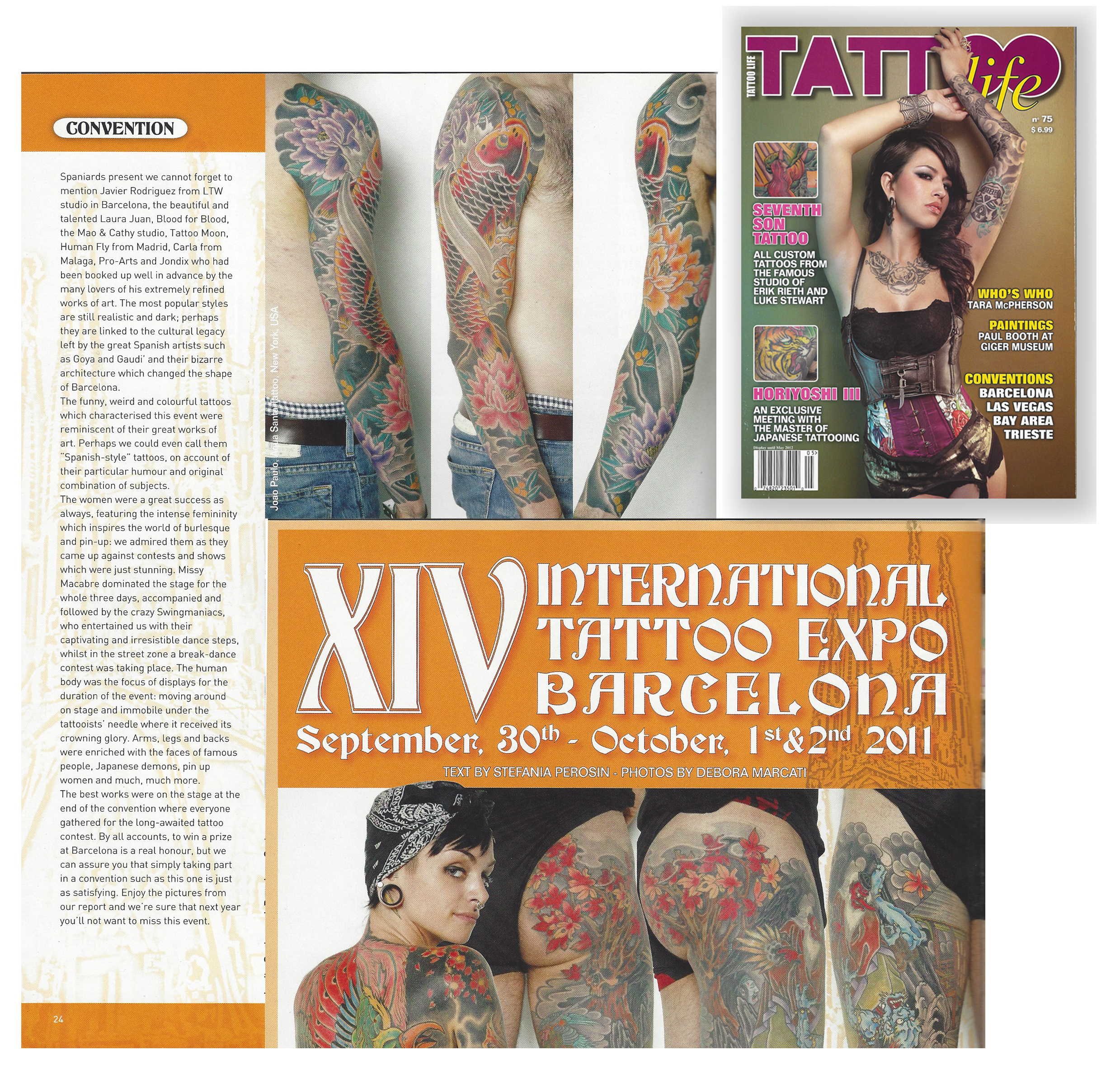 Article on an Italian Tattoo Life Magazine covering the Barcelona Tattoo Convention 2011 which João Paulo Rodrigues won the Best Tattoo done on the Saturday of the show.