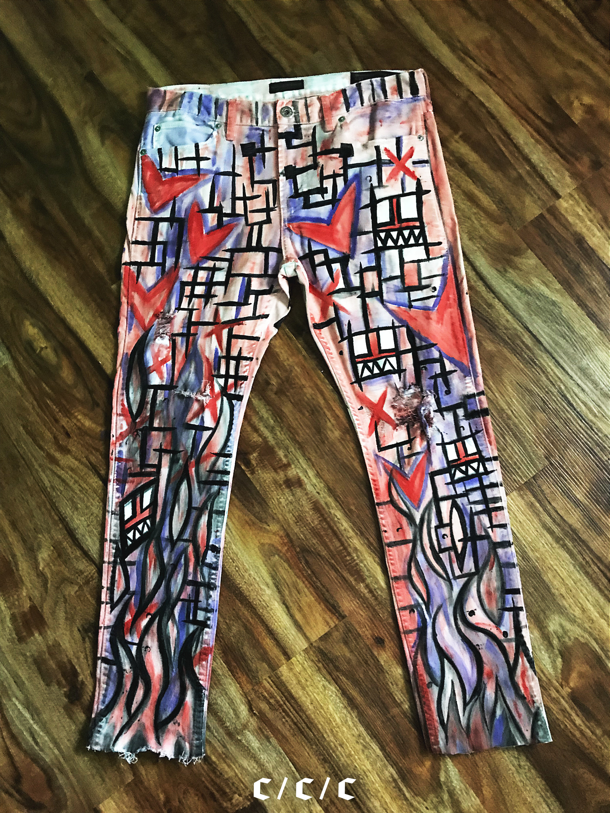 Painted Pants x Calvin Coolridge. Made in Killeen,Texas // Front