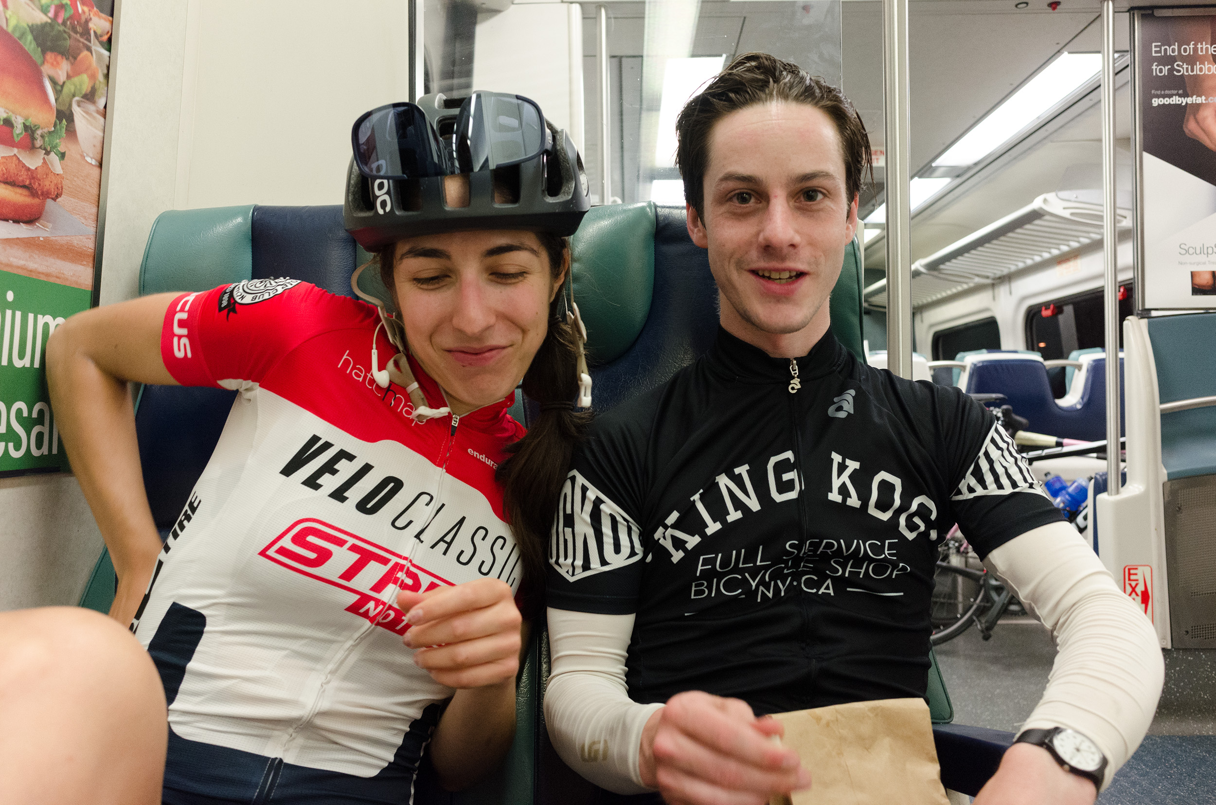 Ben and Natalie on the train