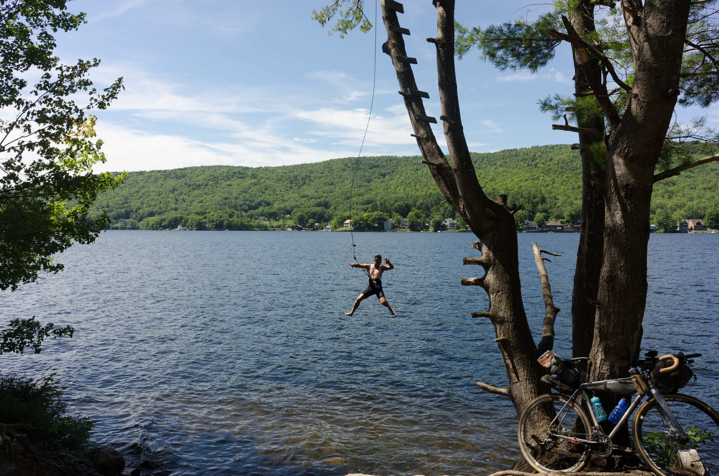 Of course when you discover a random rope swing alongside your route, you just have to go for it.