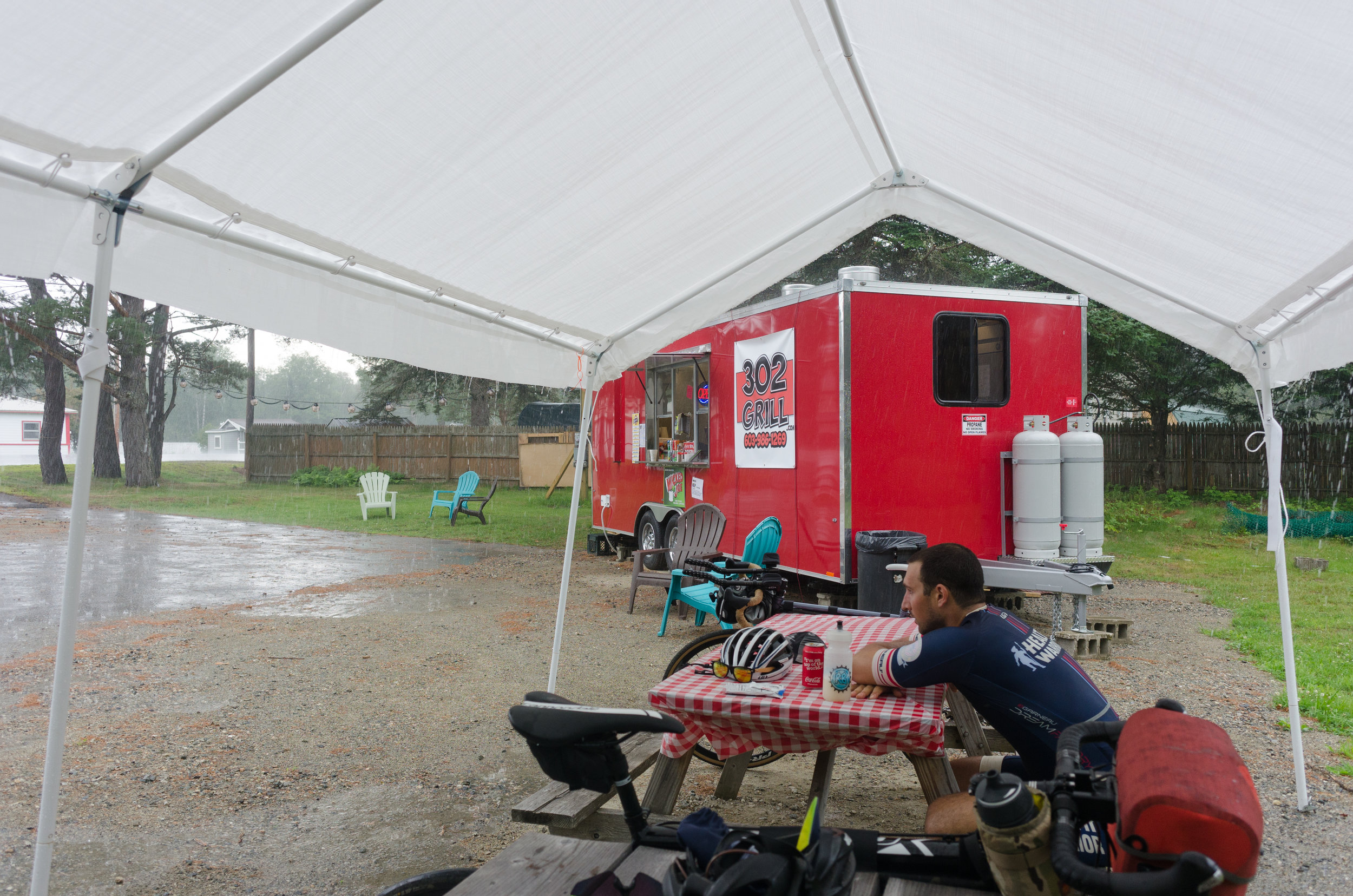 After a 97-mile day in the saddle with 5,000+ feet of climbing the rain that seemed to follow us our entire ride was nice enough to hold off until we pulled off into our motel for the evening.