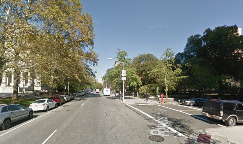 Corner Four (122nd Street and Riverside) looking North onto Riverside Drive. Note that neutral support will be positioned at the top of 122nd Street where the silver station wagon is positioned. This will also be the location of staging.