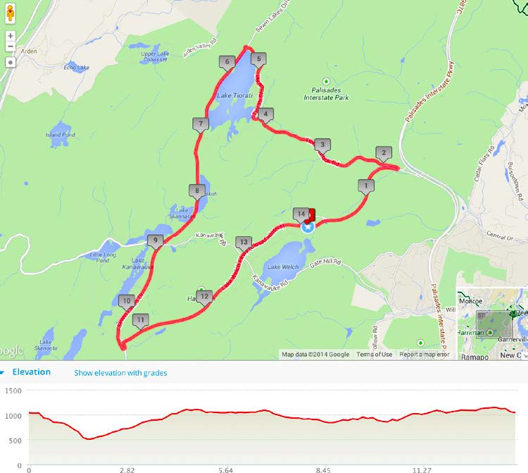 Bear Mountain Classic course map and elevation profile - the main sustained climb of the day is beautiful Tiorati Brook Road.