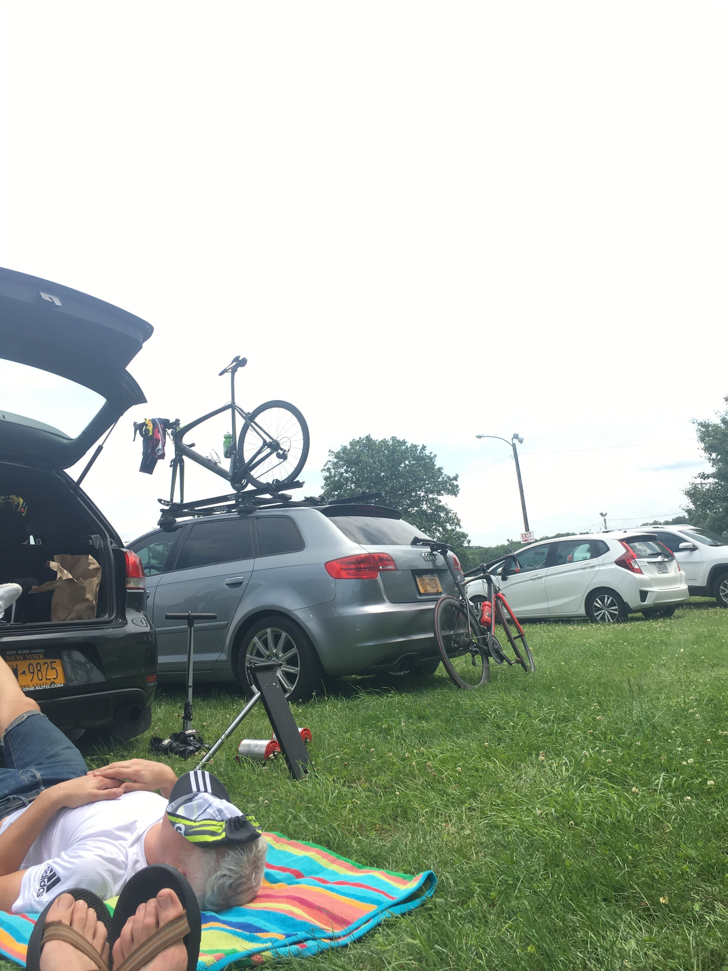 County fair ground Saturday afternoon (post TT pre-Crit) naps