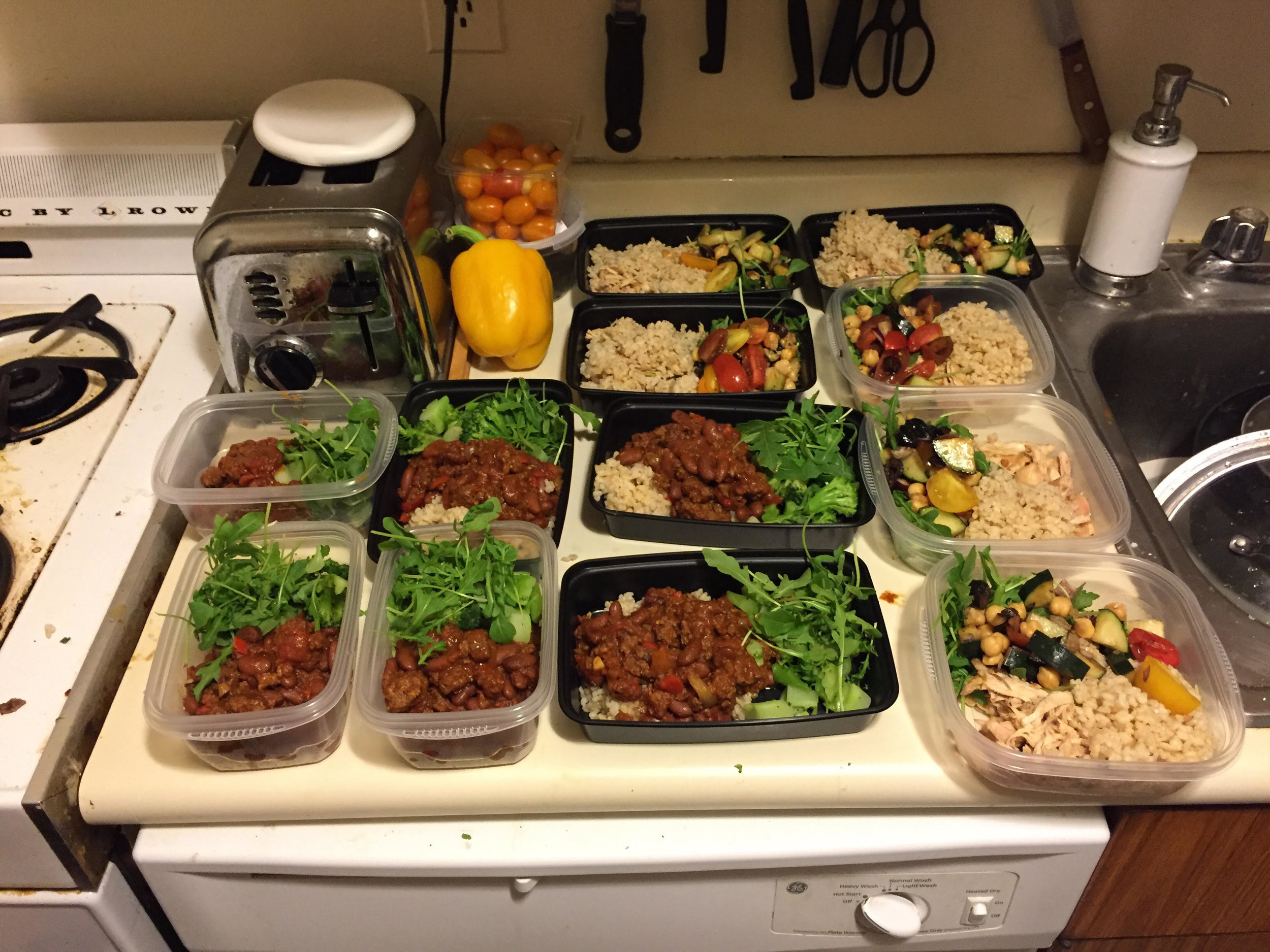 Portioning out meals (Used kitchen scale for the protein and eyeballed the grains/veggies)