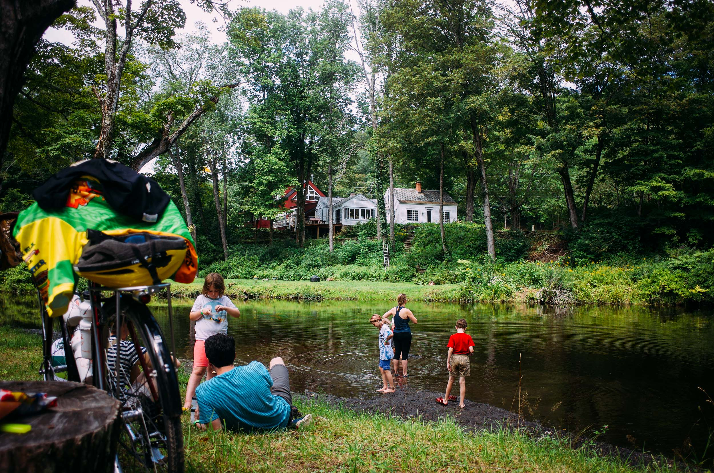 A family swims at the lunch stop: one of many perfectly New England moments of relaxation.