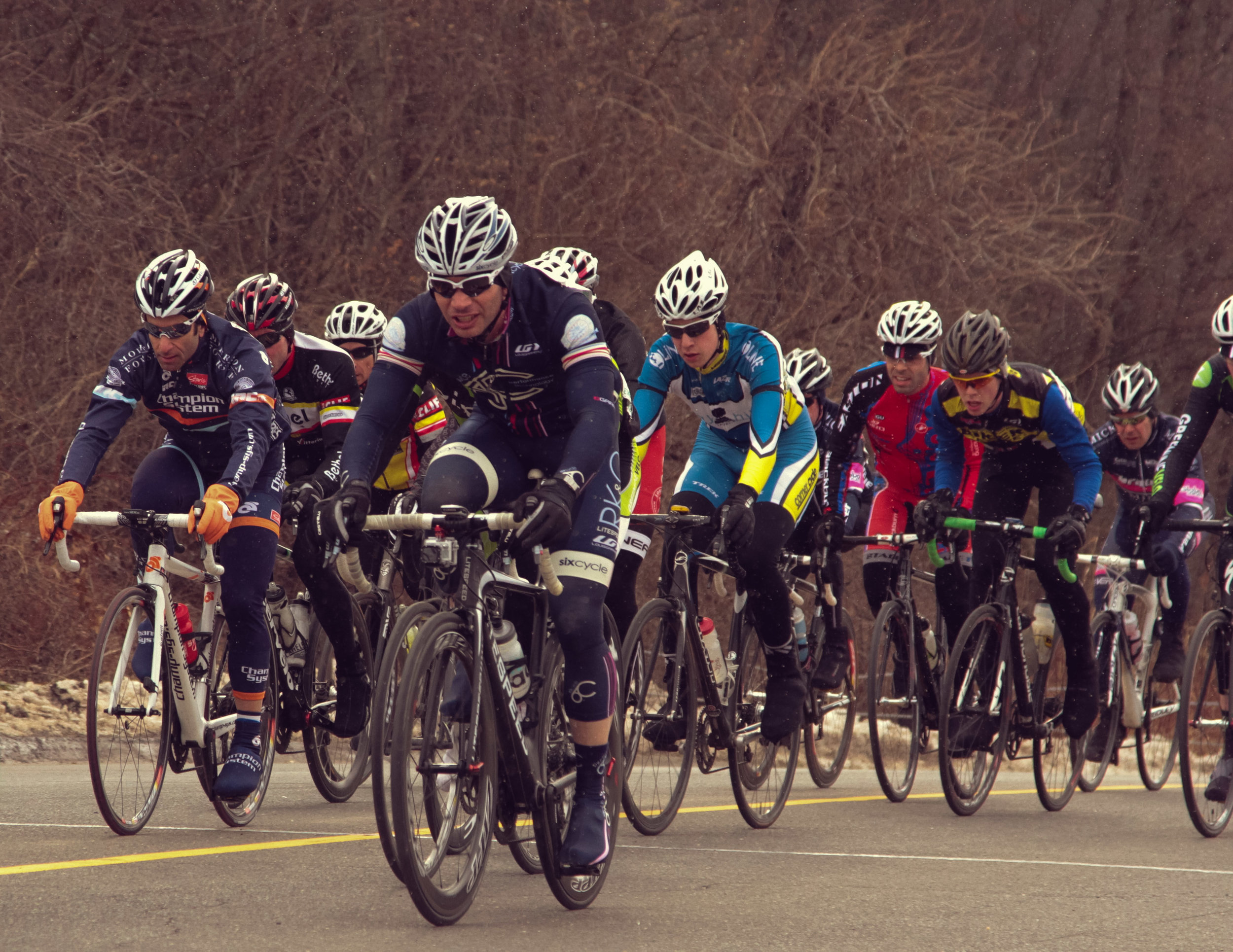 The loss of the Bethel Spring Series stings more than perhaps any other deceased race in the tri-state area. In our early years the team spent every spring Sunday racing that famous loop, with many riders doubling up across fields, followed by lunch at a local diner (ideally paid for out of race winnings). This photo dates to March 2013 when the team rode Litespeed bikes.