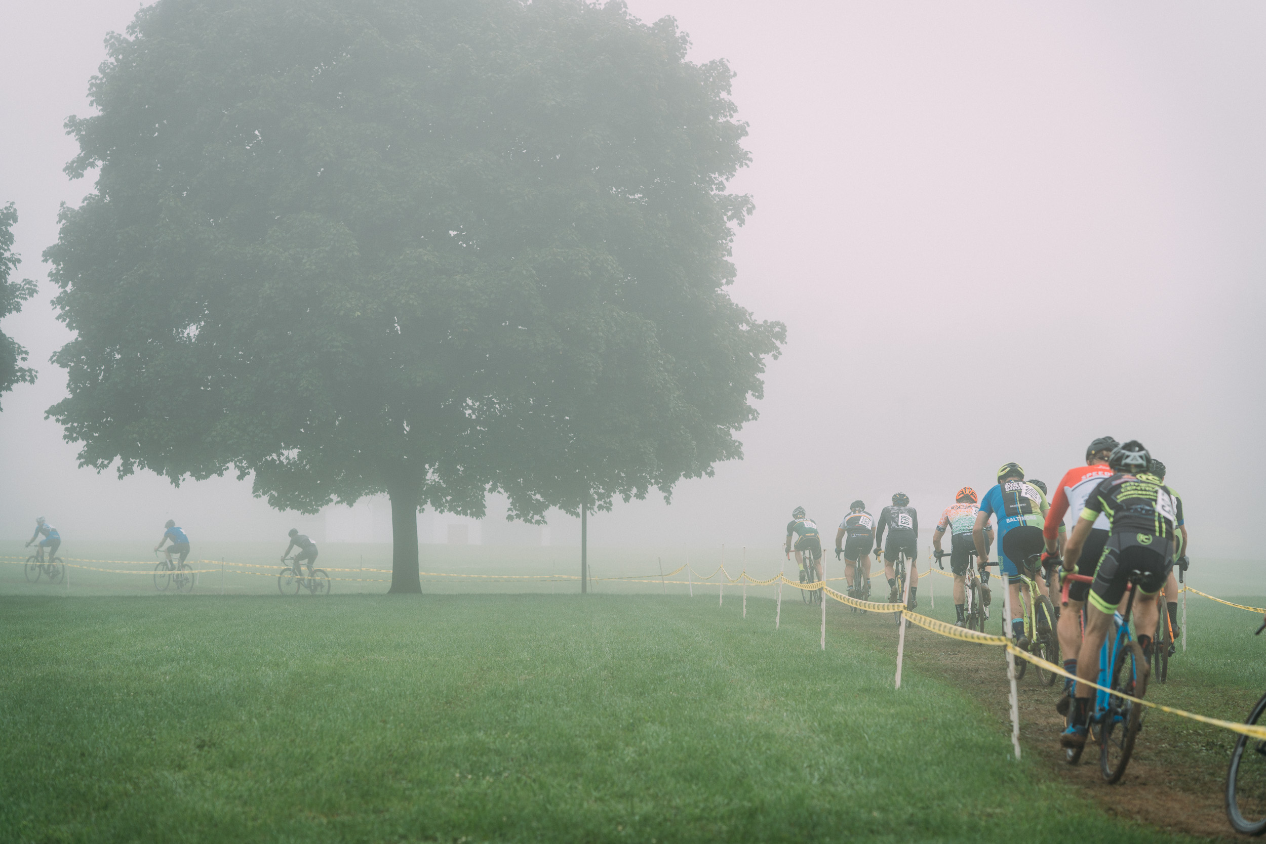 The Nittany Lion Cyclocross venue was enshrouded in fog for much of the morning on Sunday.