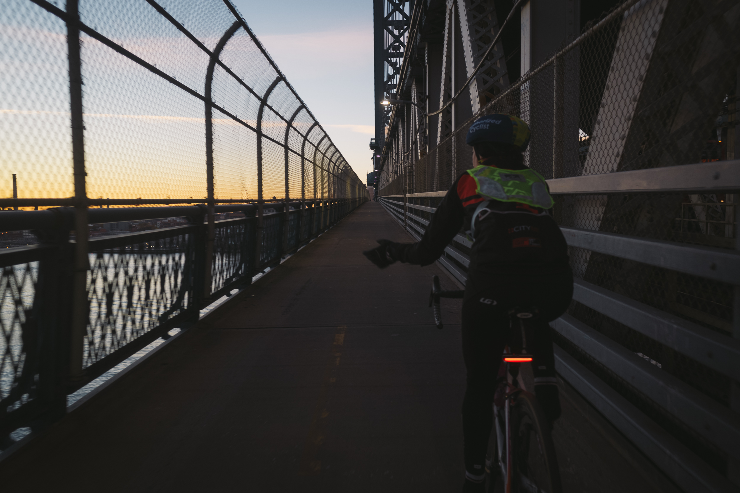 Crossing the Manhattan Bridge at sunrise feels familiar after plenty of early Prospect Park races