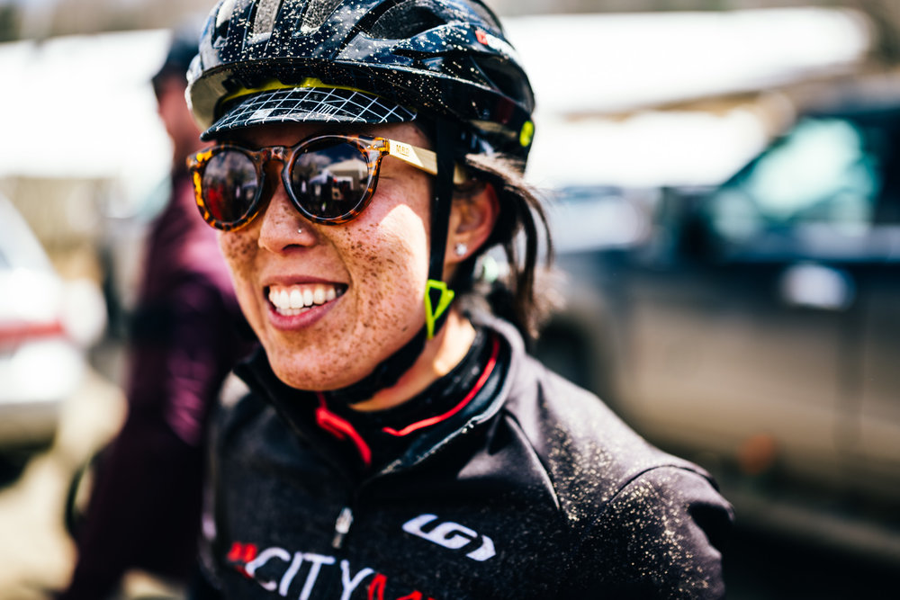 """Lucia after another muddy (and snowy) edition of Rasputitsa, from  """"Rasputitsa, is it a Race or is it a Ride?"""""""