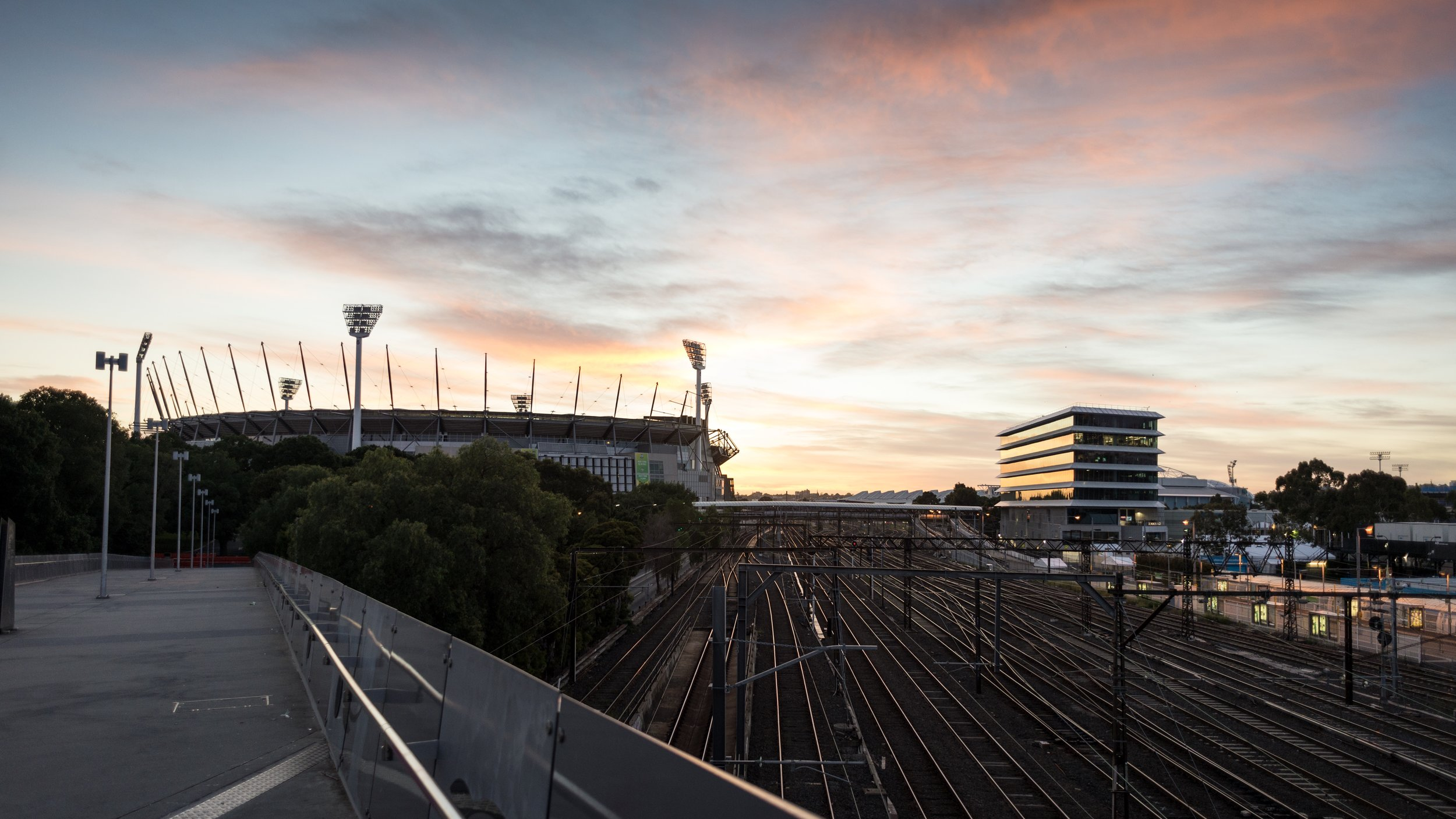 Nikon D610, Nikkor 24 2.8D, 1/200, ISO-400. Taken on the way to a morning ride, featuring the mighty MCG.