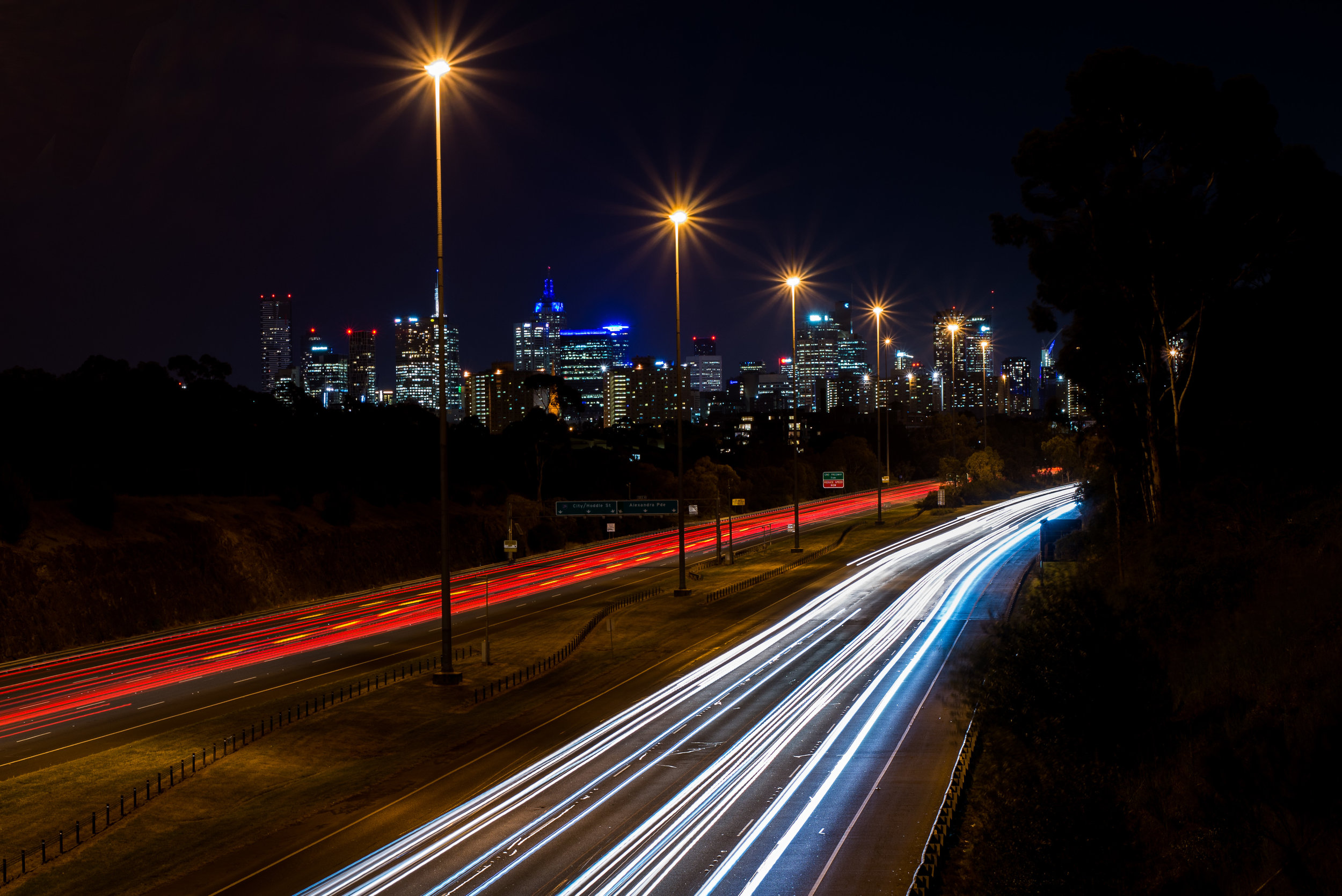 Nikon D610, Nikkor 50 1.8G, 25', ISO-100. Light trails and Melbourne skyline.