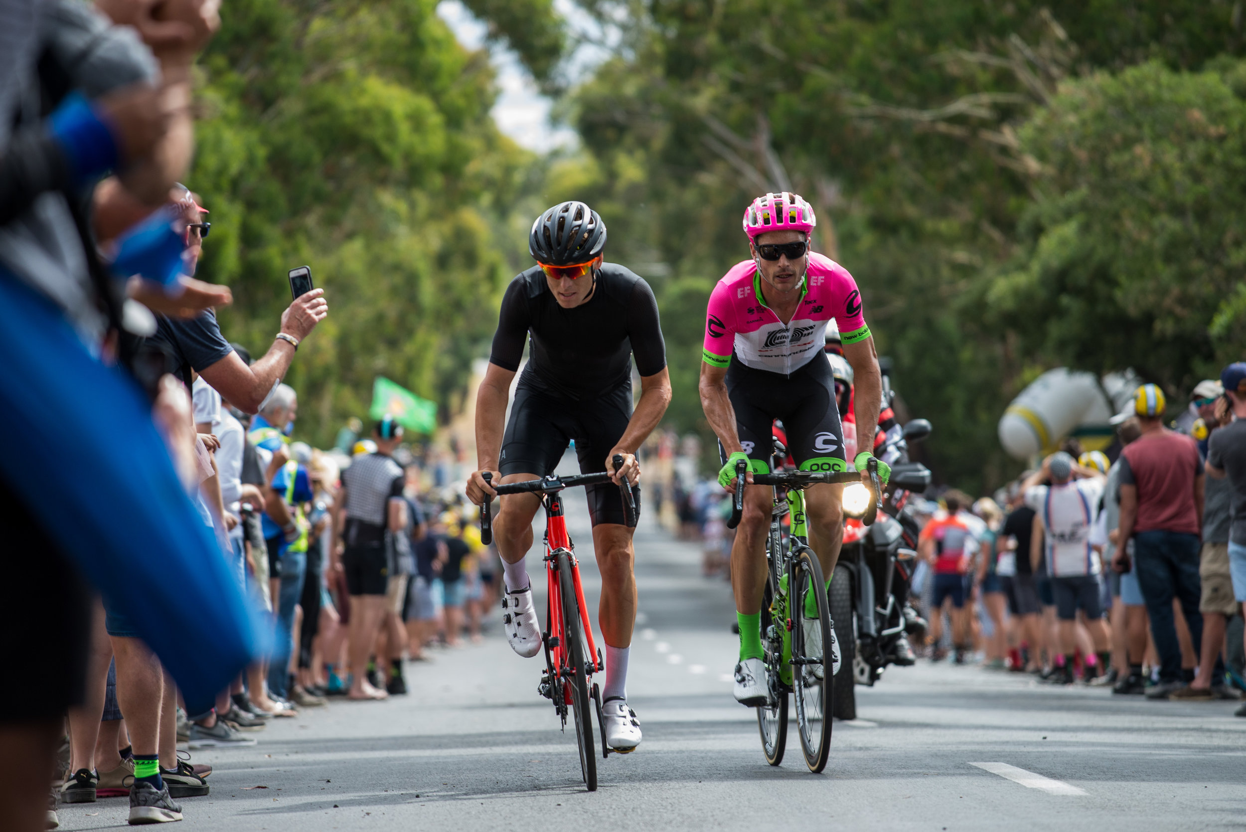 Nikon D610, Nikkor 70-200 4G, 1/400, ISO-400. Breakaway heads up Mount Buninyong, Australian Road Nats 2018.