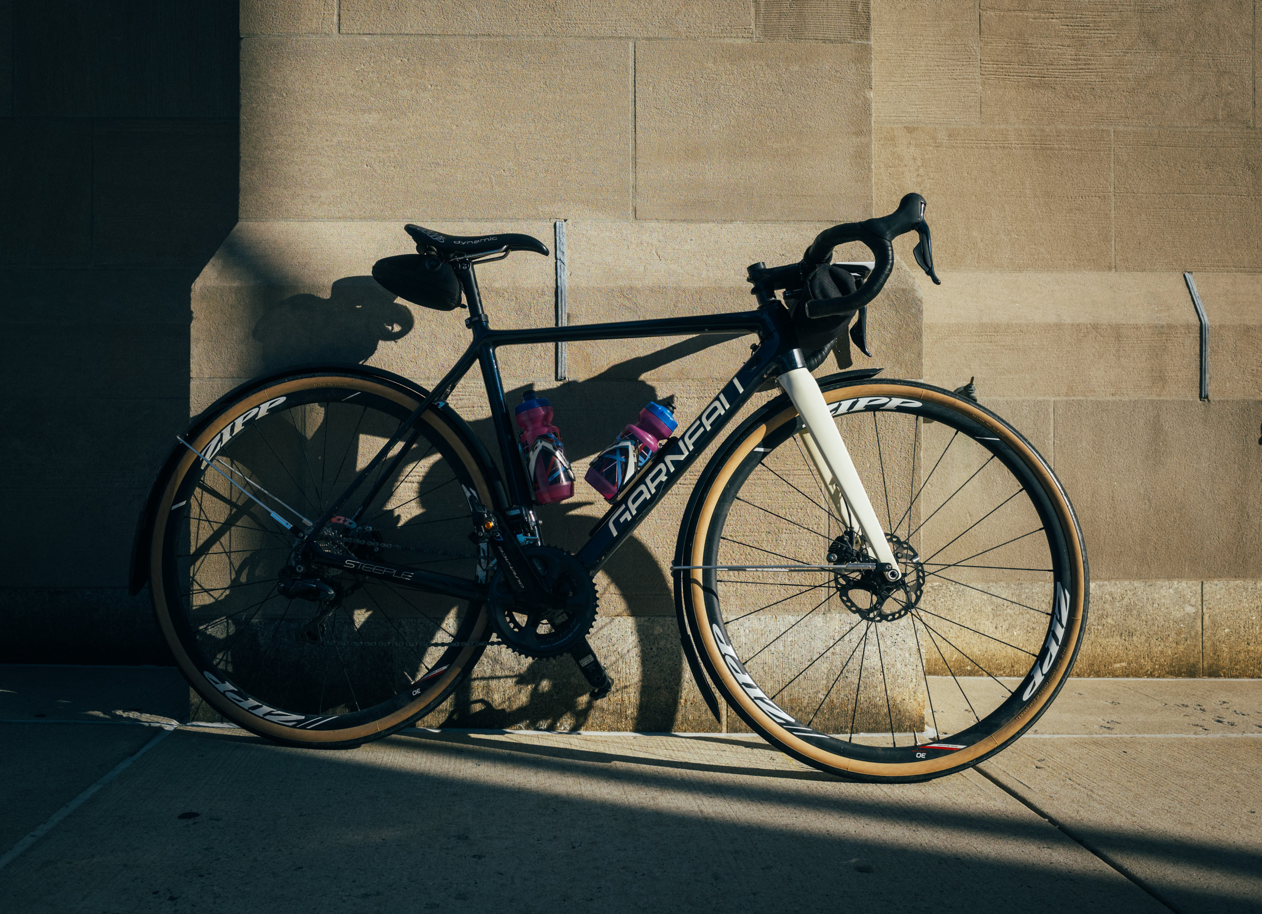 Until  our new Moots  arrive (what is the plural of Moots? Mootses?) I continue to rely on my trusty Garneau Steeple in  full-on winter mode  for road training. I am still loving the setup, even if I am often reminded that it's not a particularly fast rig when loaded down with fenders, a handlebar bag and 35c tires.
