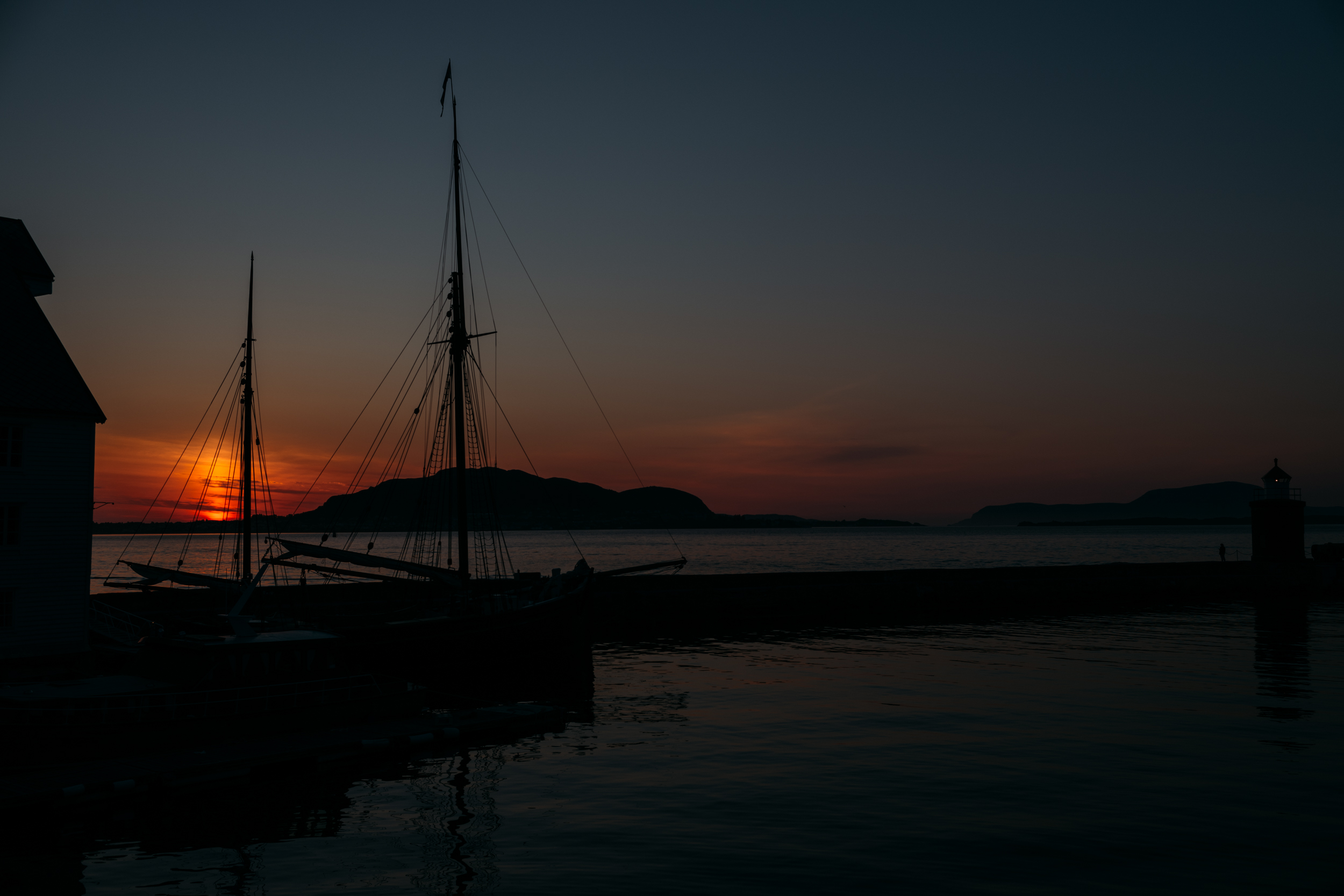 Sunset on one of the evenings we spent wandering around downtown Ålesund after a stunning meal.